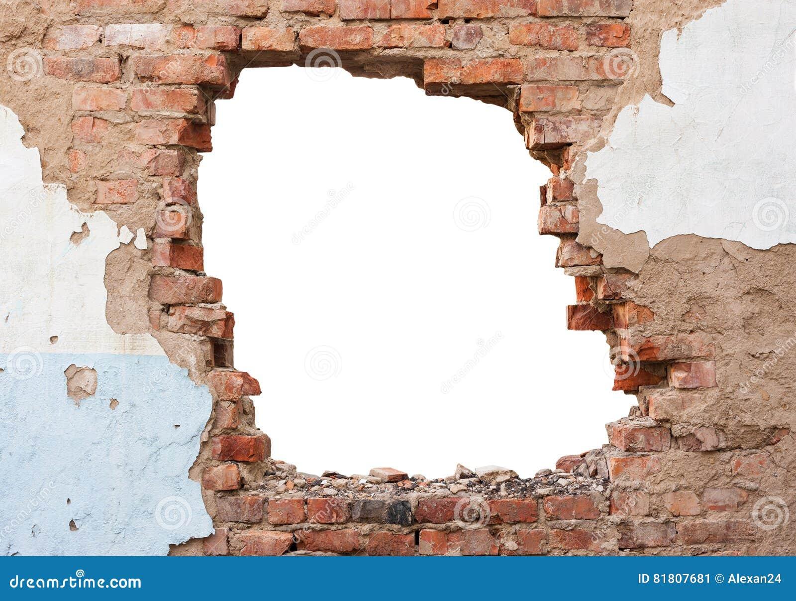 Mur de briques de trou