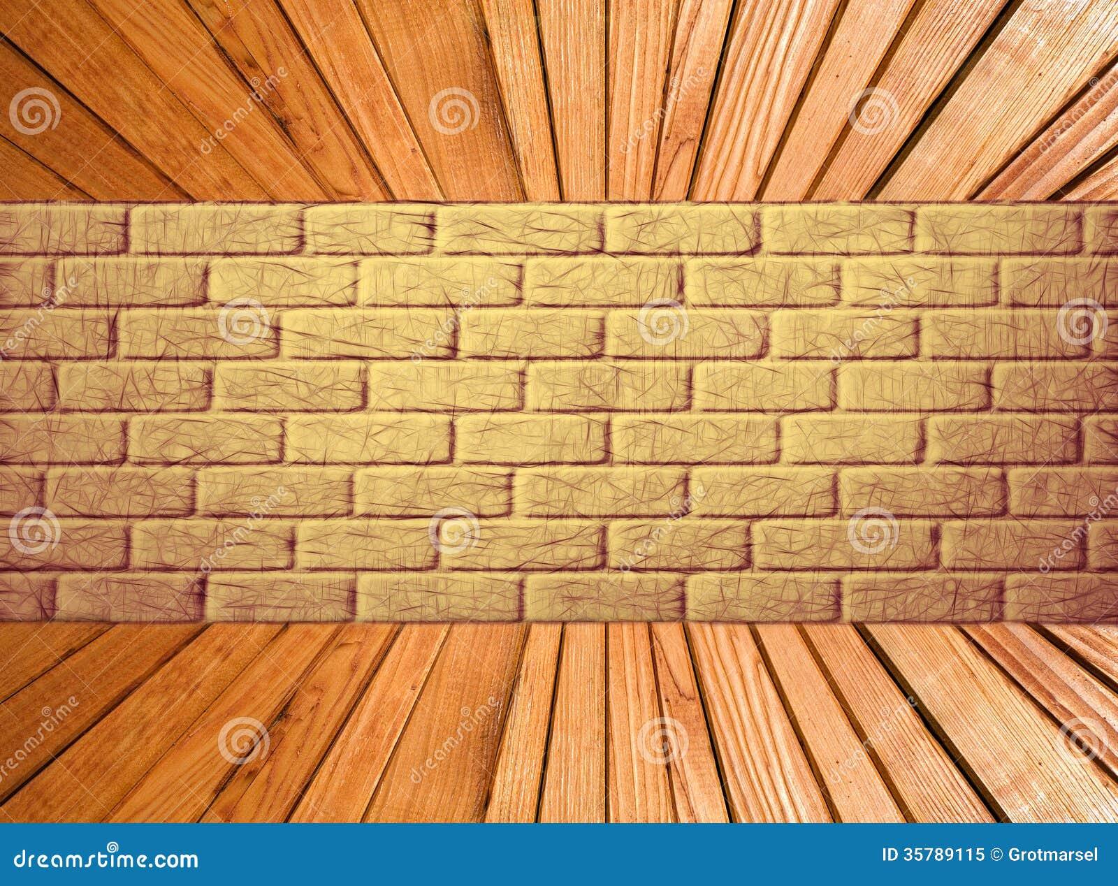 Mur de briques jaune et perspective en bois de plancher de planche illustration stock - Planche a dessin en bois ...