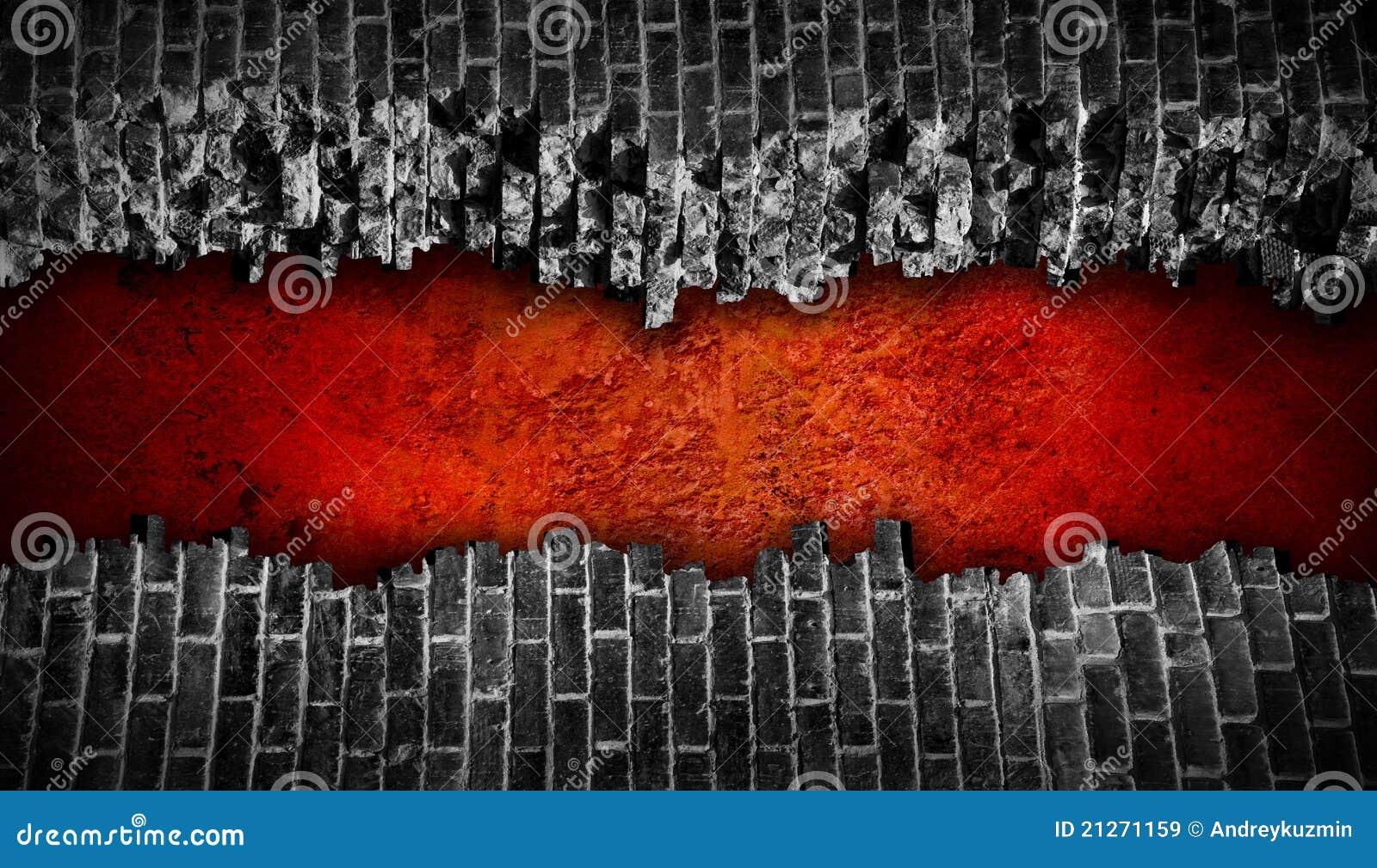 Mur de briques noir cass avec le grand trou rouge images - Mur brique noir ...