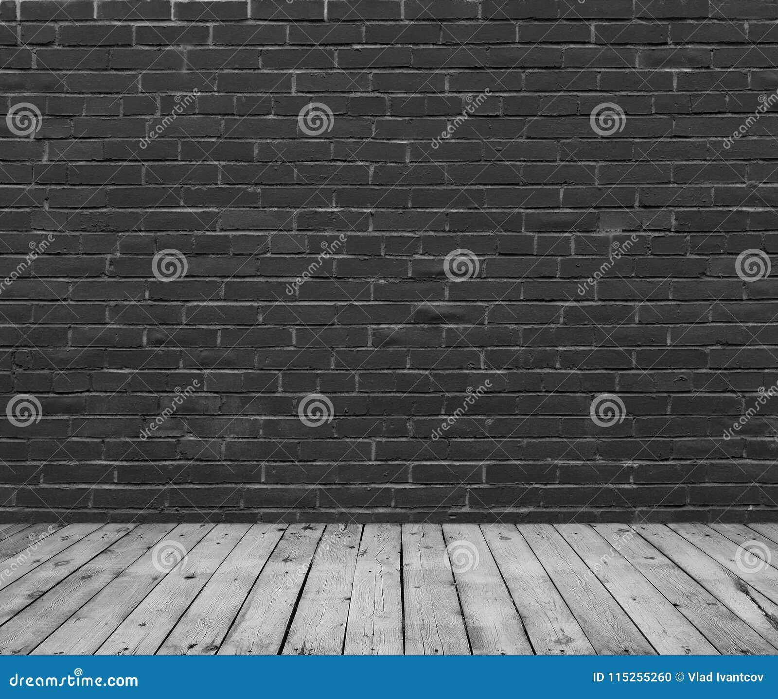 Mur De Briques Peint Avec La Peinture Noire Photo Stock