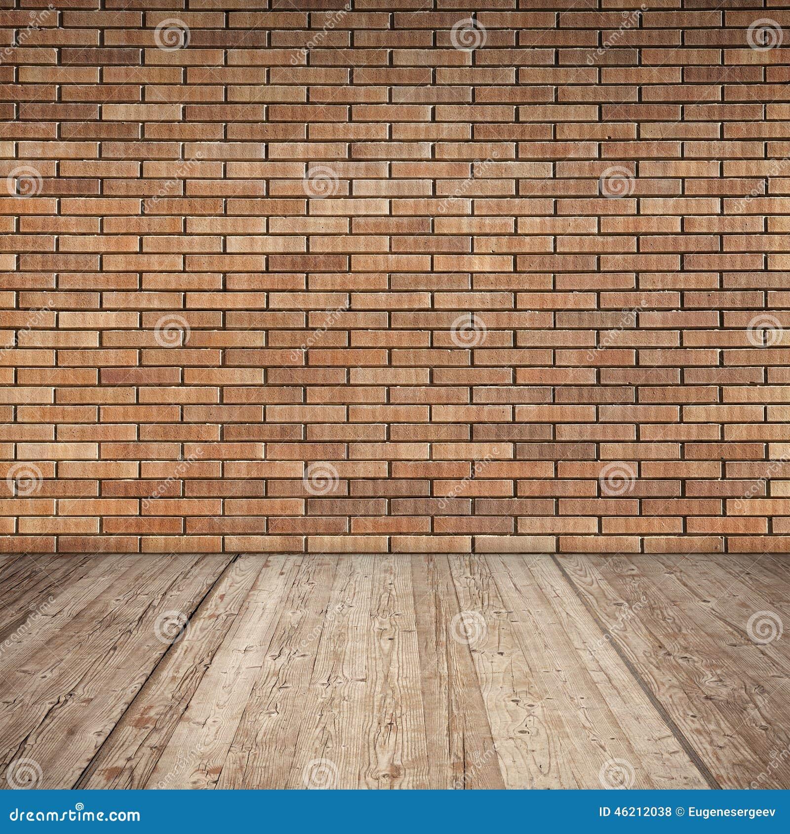 Mur de briques rouge et plancher en bois int rieur vide - Mur de brique rouge interieur ...