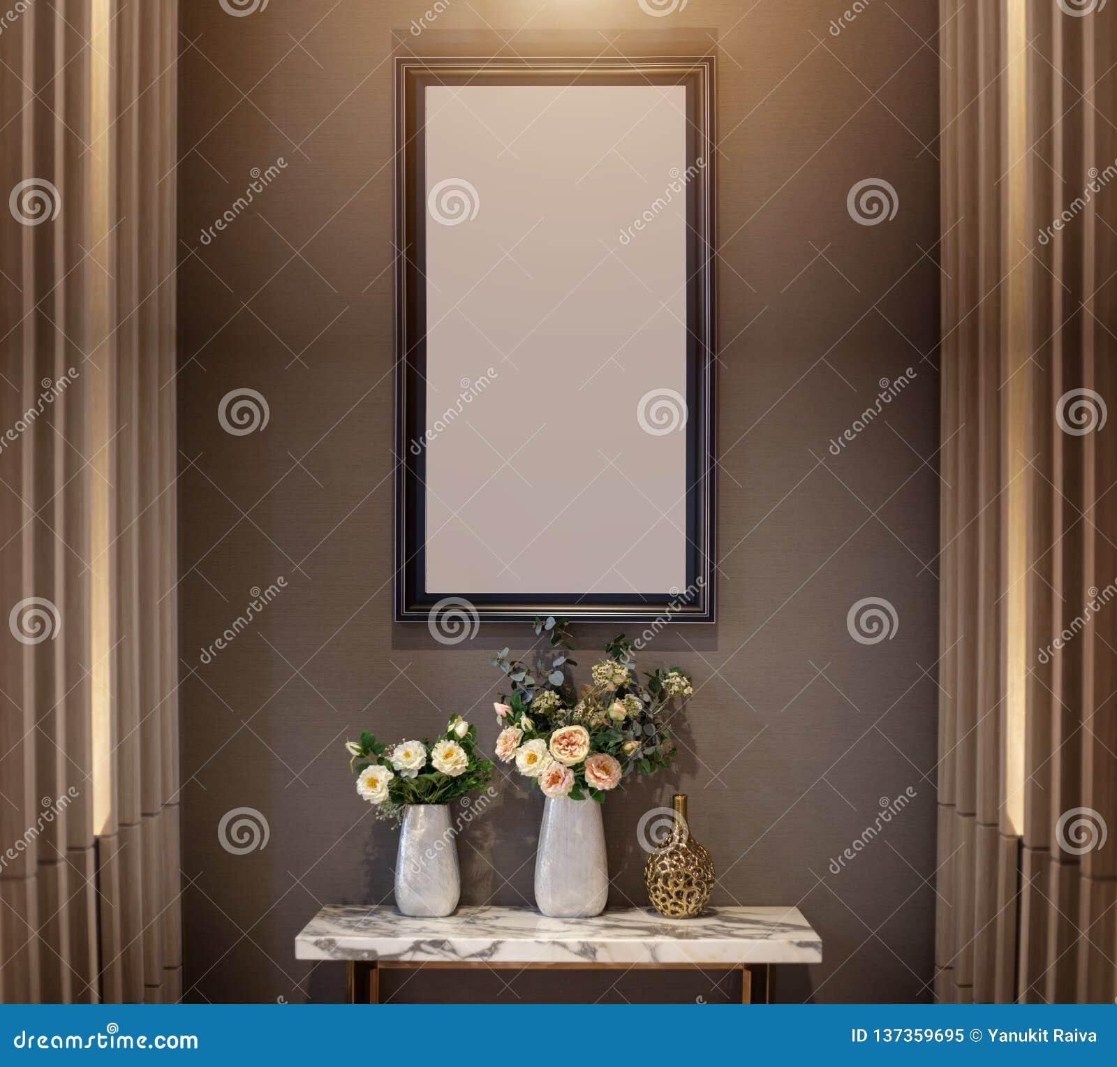 Deco Cadre Photo Mur mur de décoration intérieure avec la fleur sur le cadre en