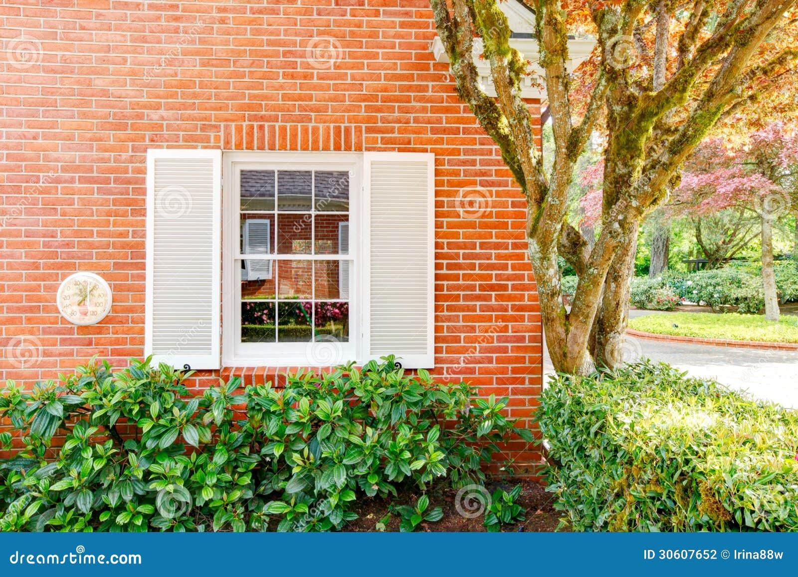 Mur de maison de brique avec la fen tre et les buissons for La maison de la fenetre