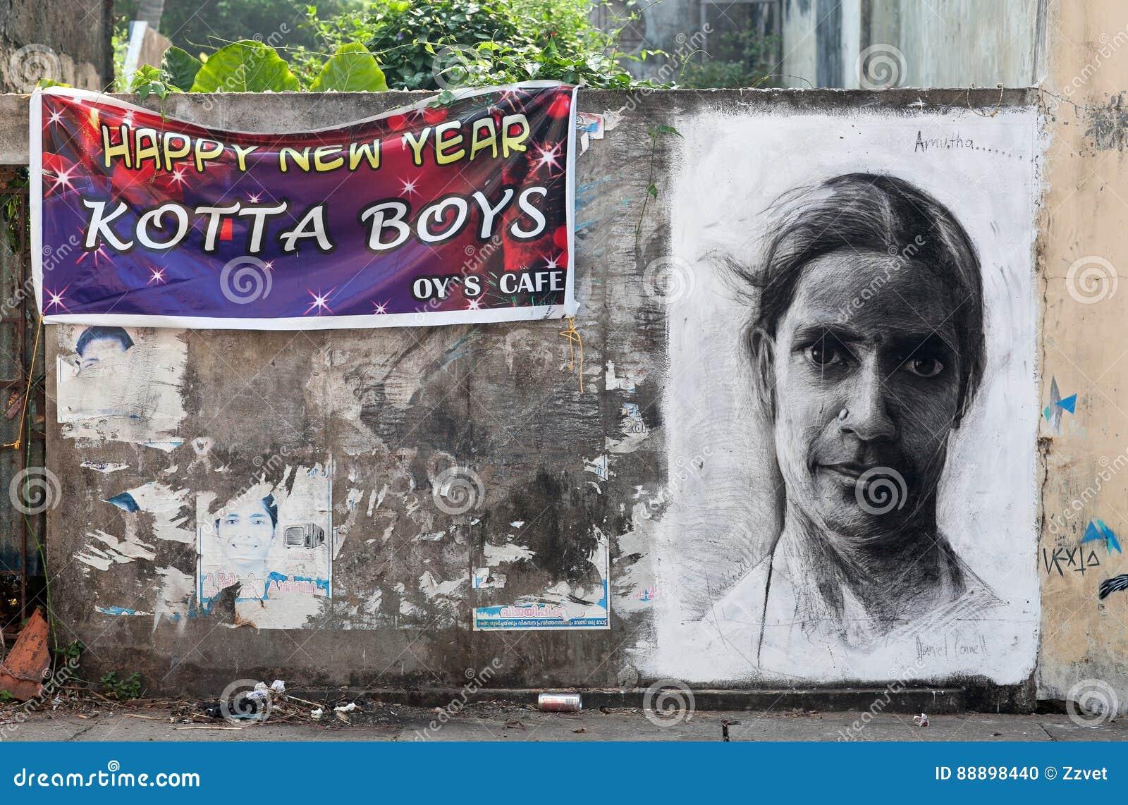 Peindre Une Fresque Sur Un Mur mur de peinture de fresque dans le fort cochin, kerala, inde