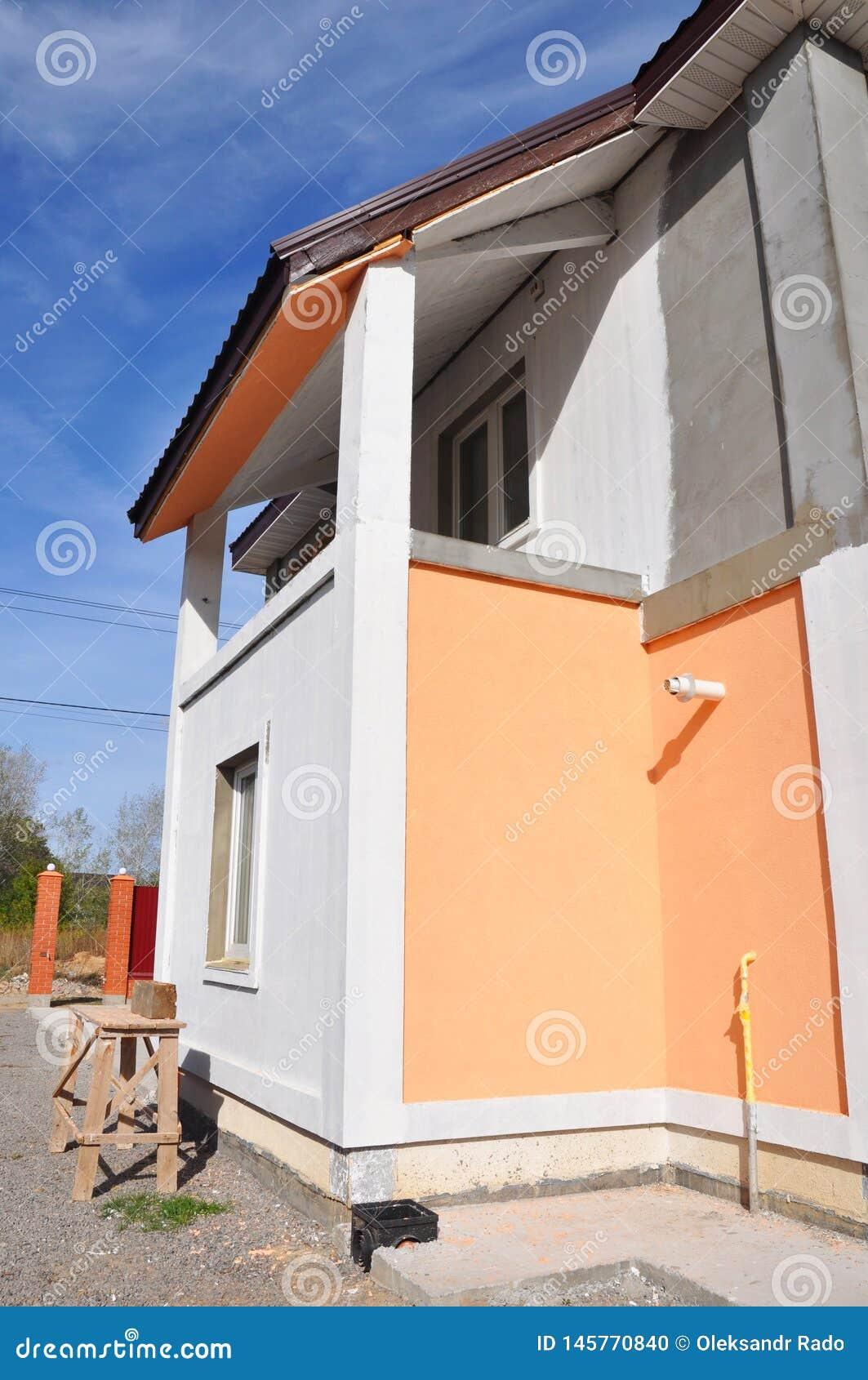 Mur De Peinture De Maison Avec La Base De Construction Toute
