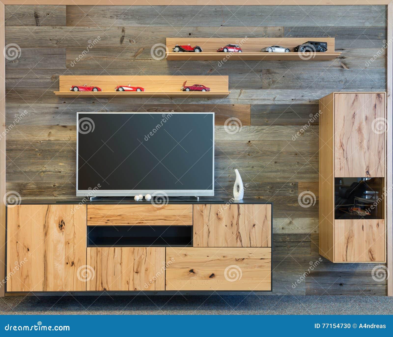 Mur De Salon De Concepteur Avec Le Placard En Bois De TV