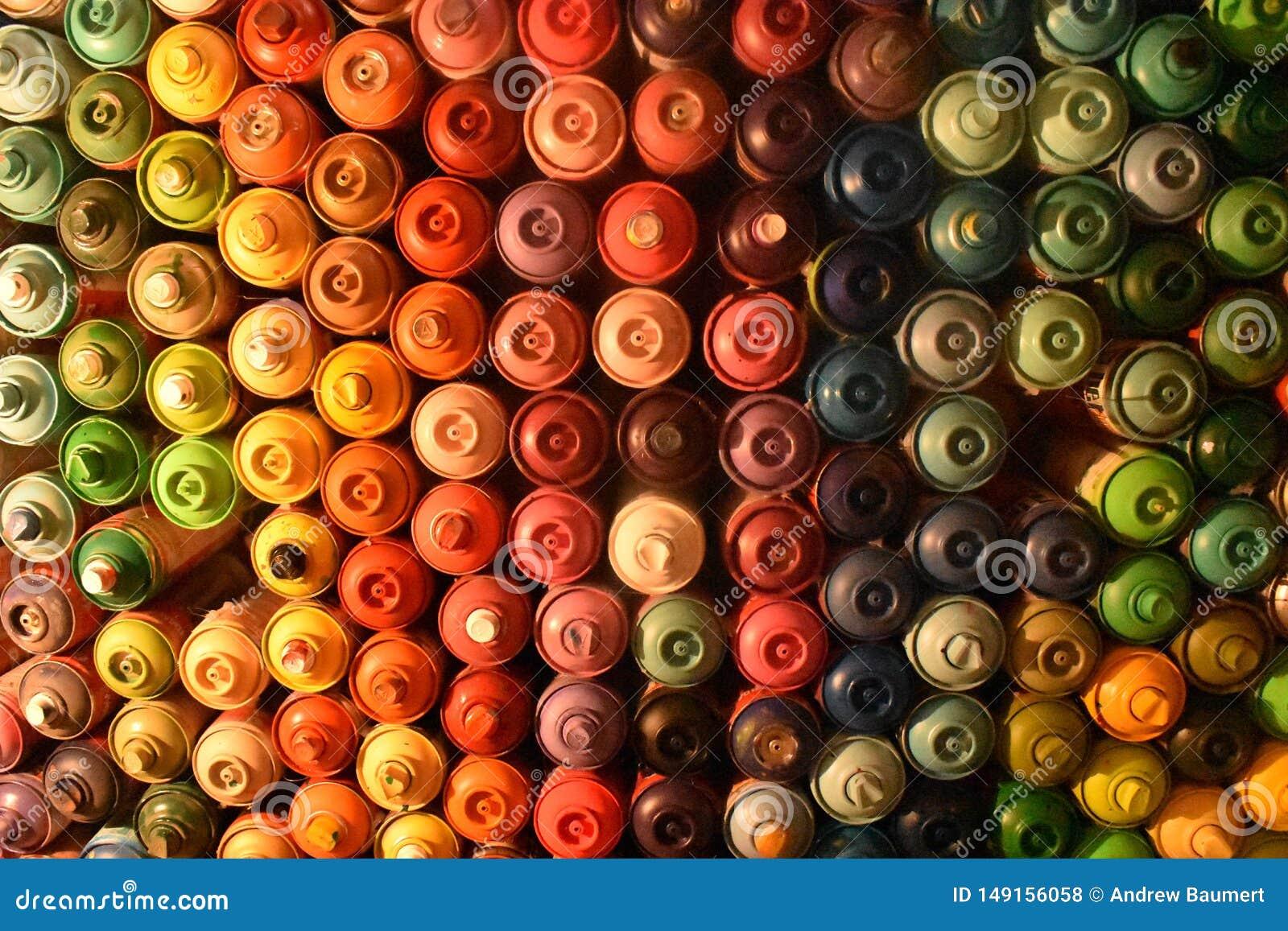 Mur des boîtes de peinture de jet