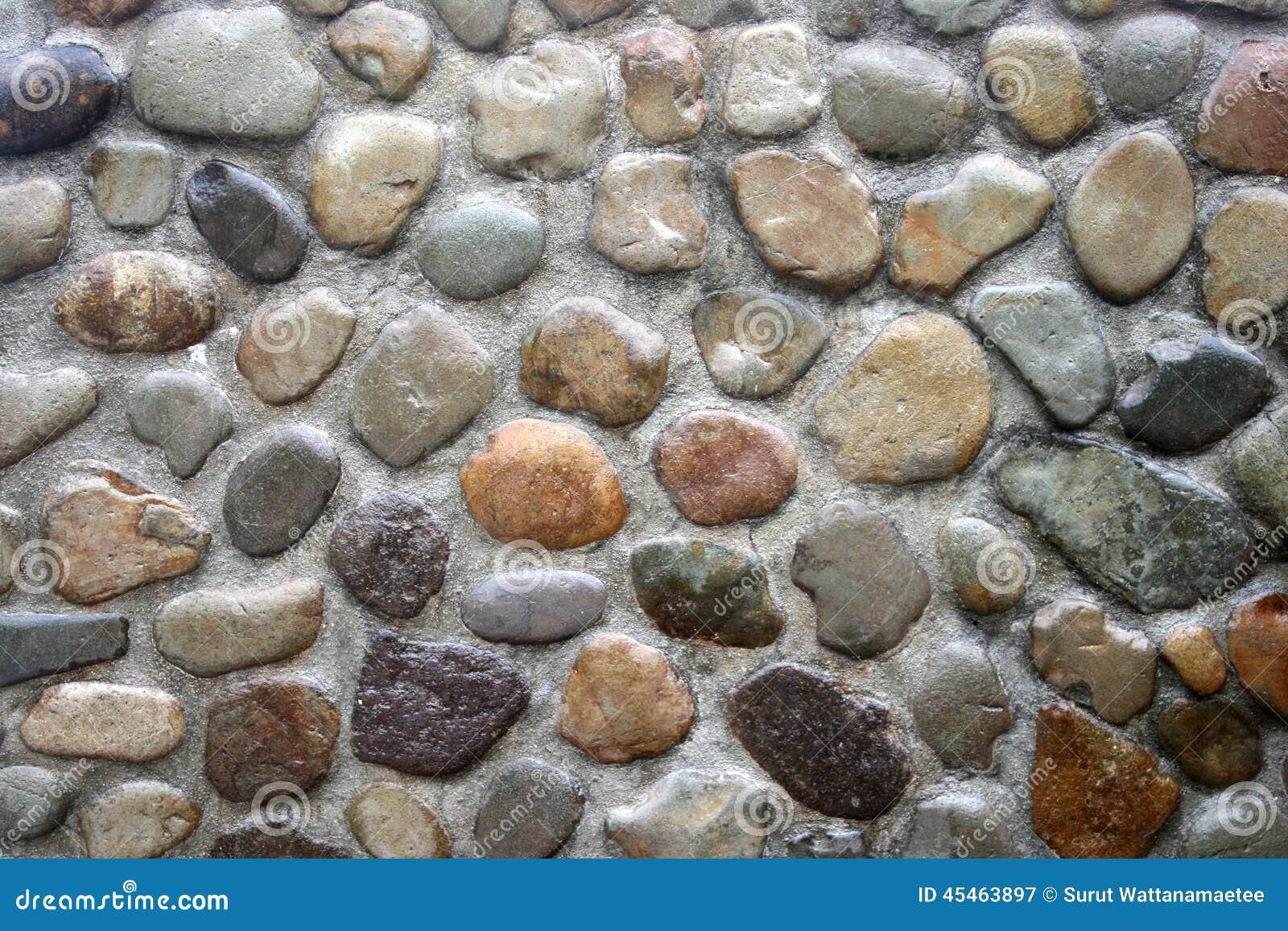 Fond fait dun plan rapproché dun mur en béton avec des cailloux