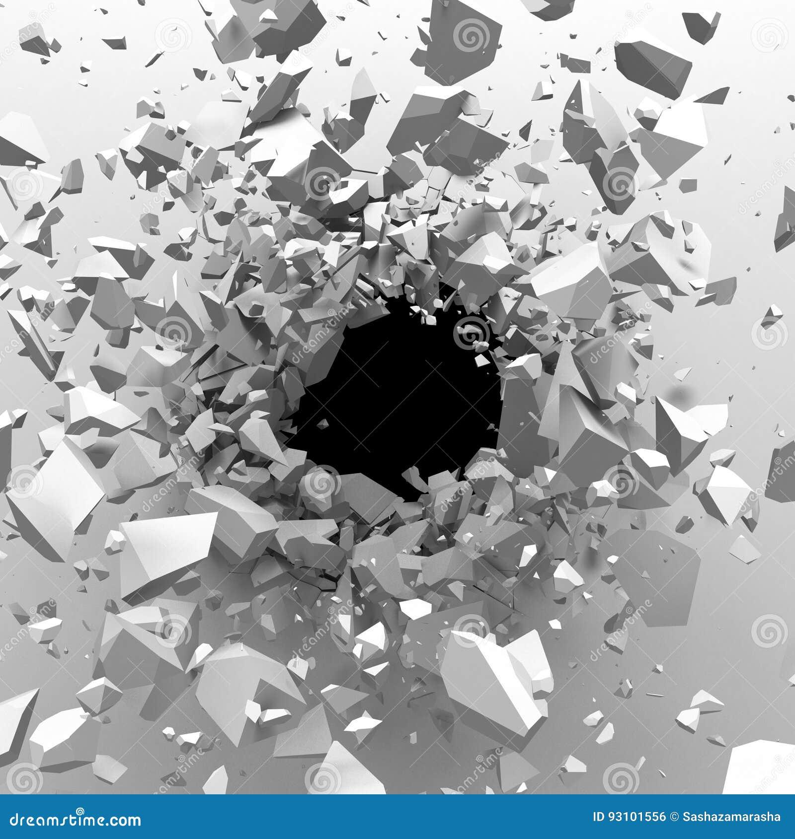 Mur en béton criqué avec le trou de balle CCB abstrait de destruction