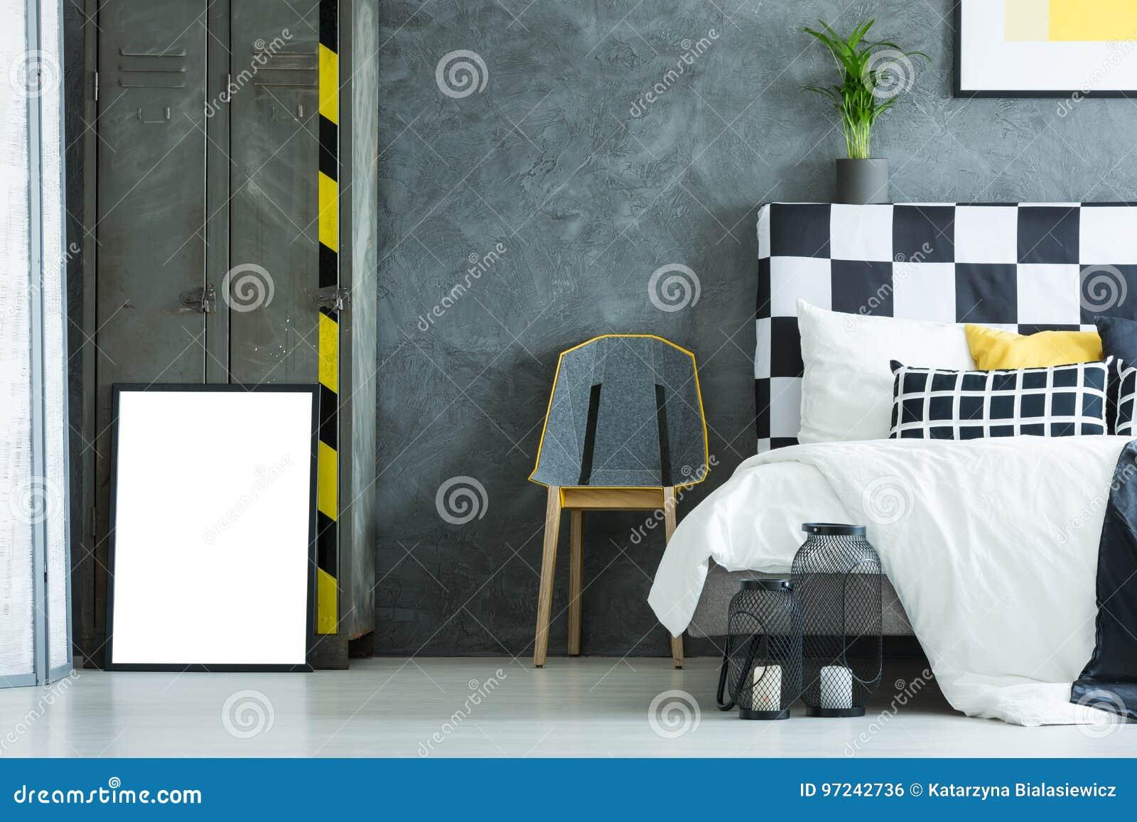 Mur En Béton Dans La Chambre à Coucher Créative Photo stock - Image ...