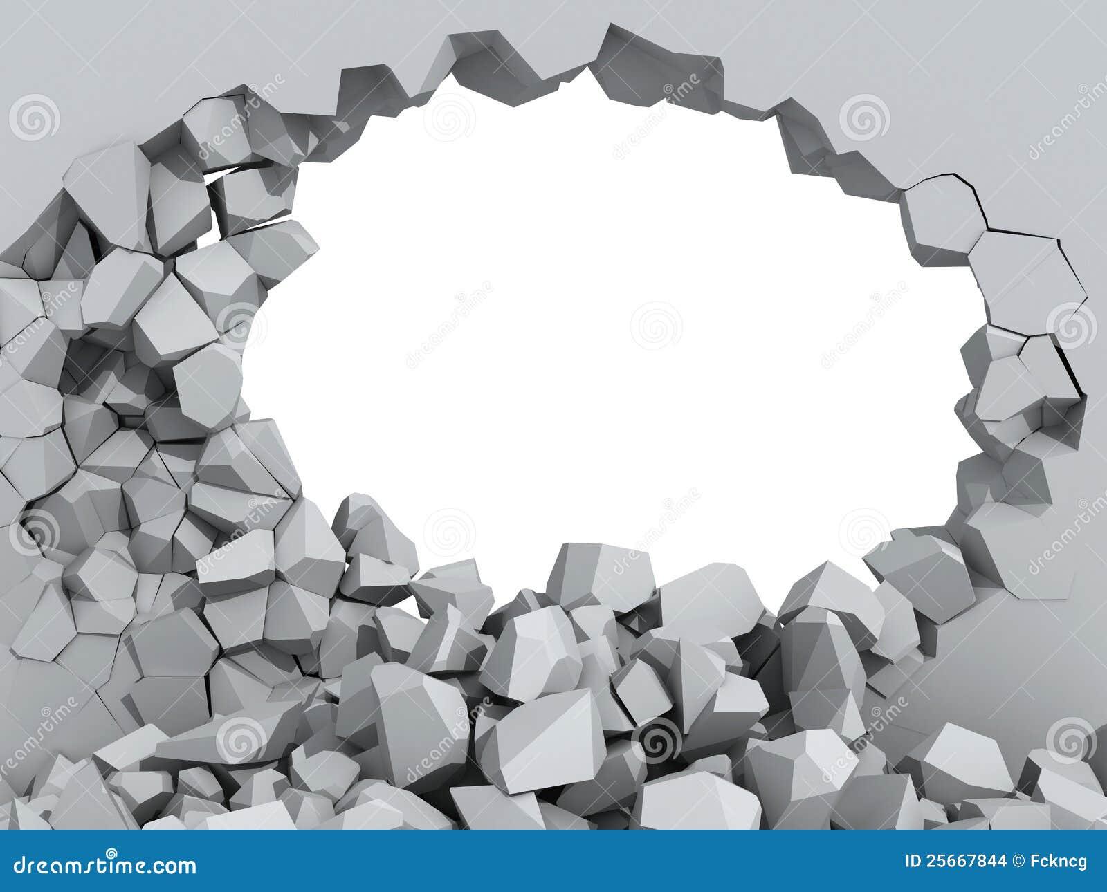 Mur en béton de émiettage avec le trou