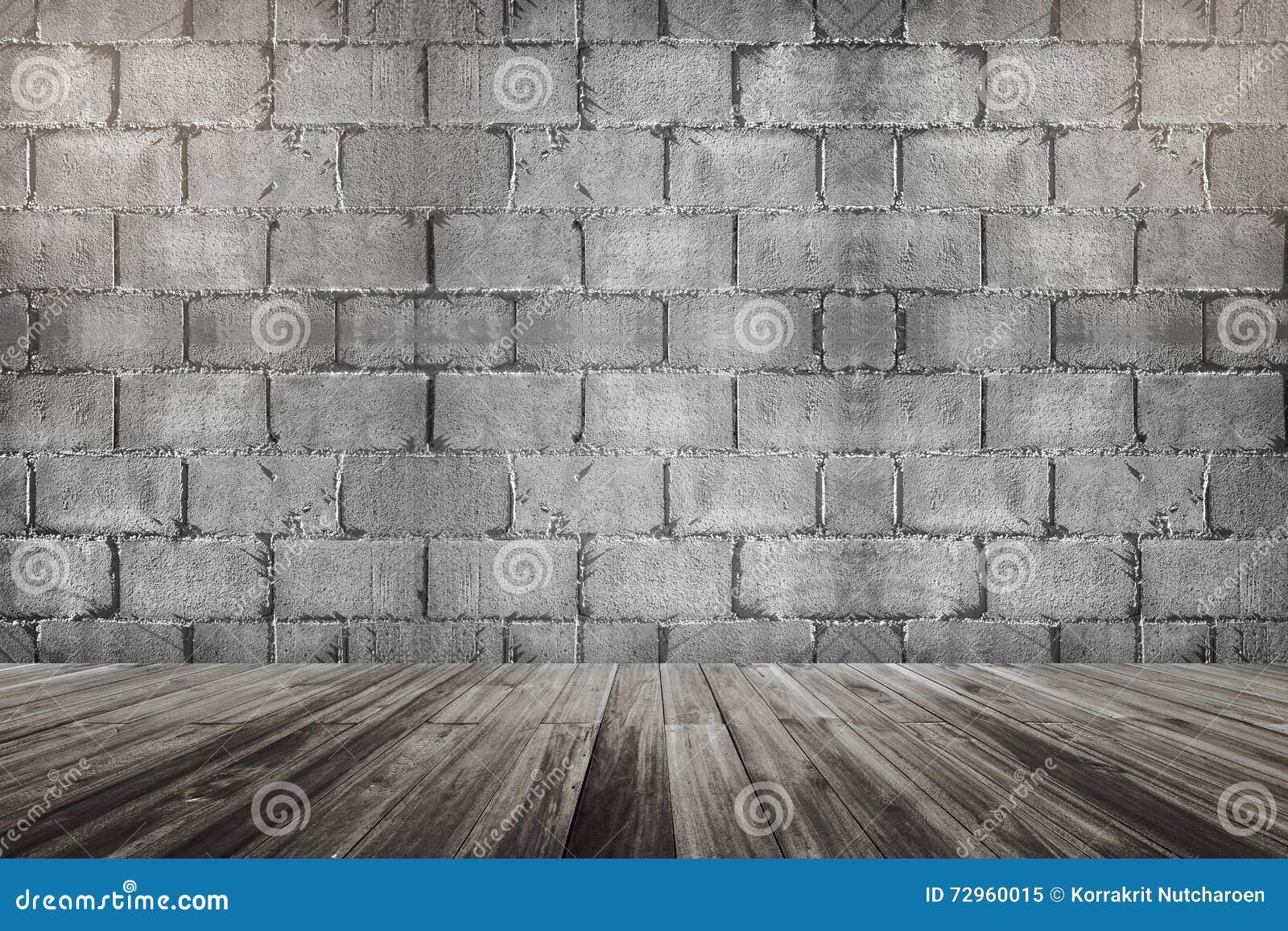 mur en béton de bloc de brique de ciment et perspective en bois de