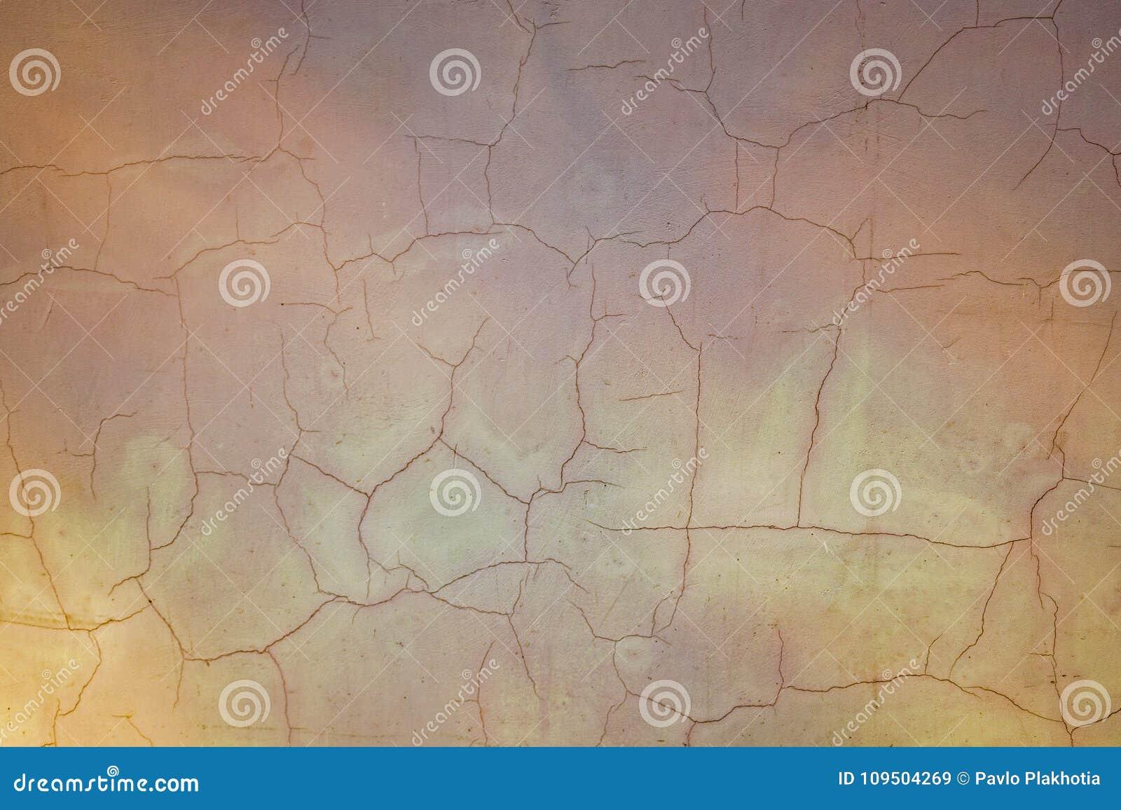 Mur En Béton Peint Avec Le Fond De Fissures Vieille Texture