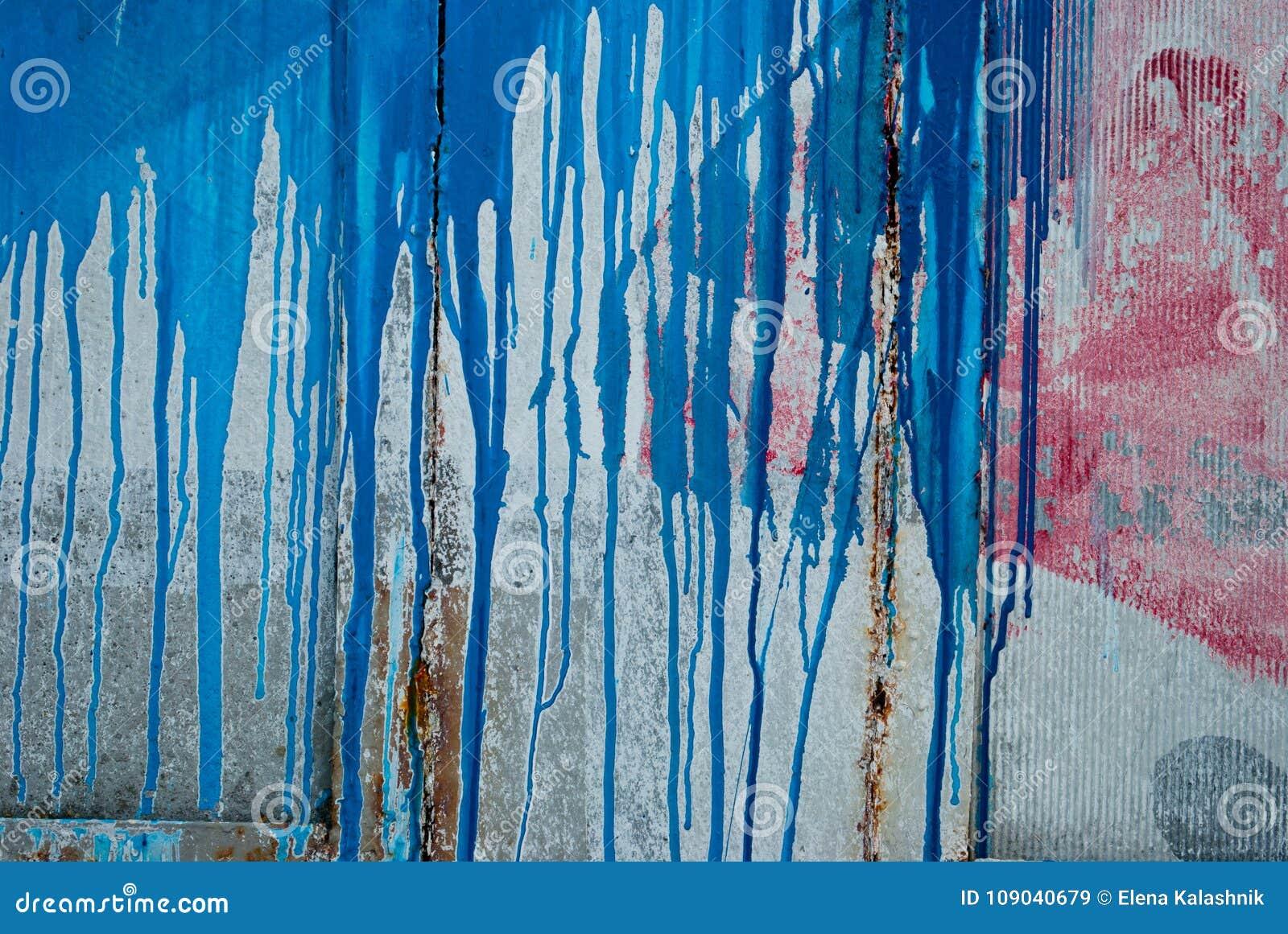 Mur En Béton Taches De Peinture Rouge Et Bleue Graffiti