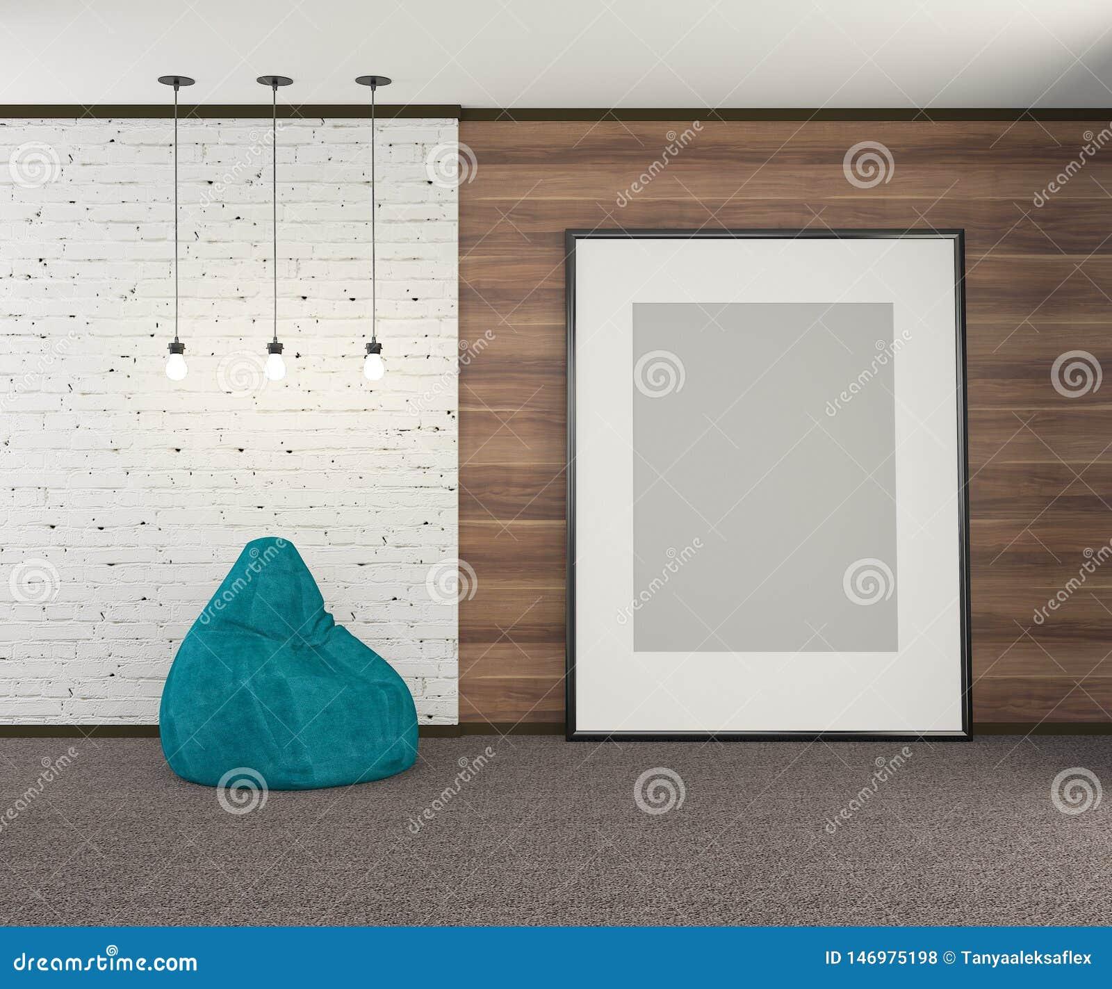 Mur en bois avec une partie du mur de la vieille brique blanche avec une grande affiche vide et des ampoules rendu 3d