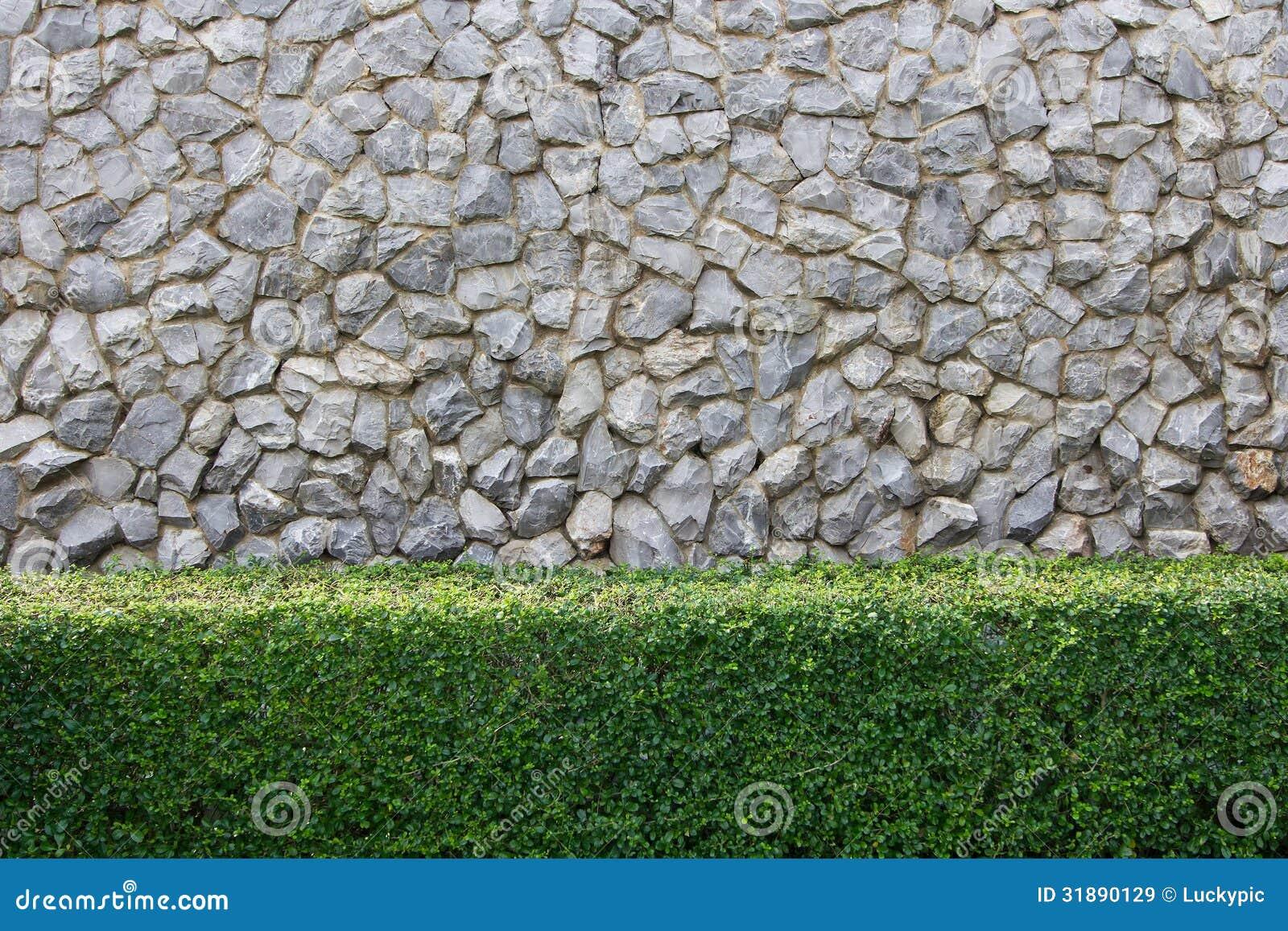 Mur En Pierre Et Jardin Décoratif Image stock - Image du centrale ...