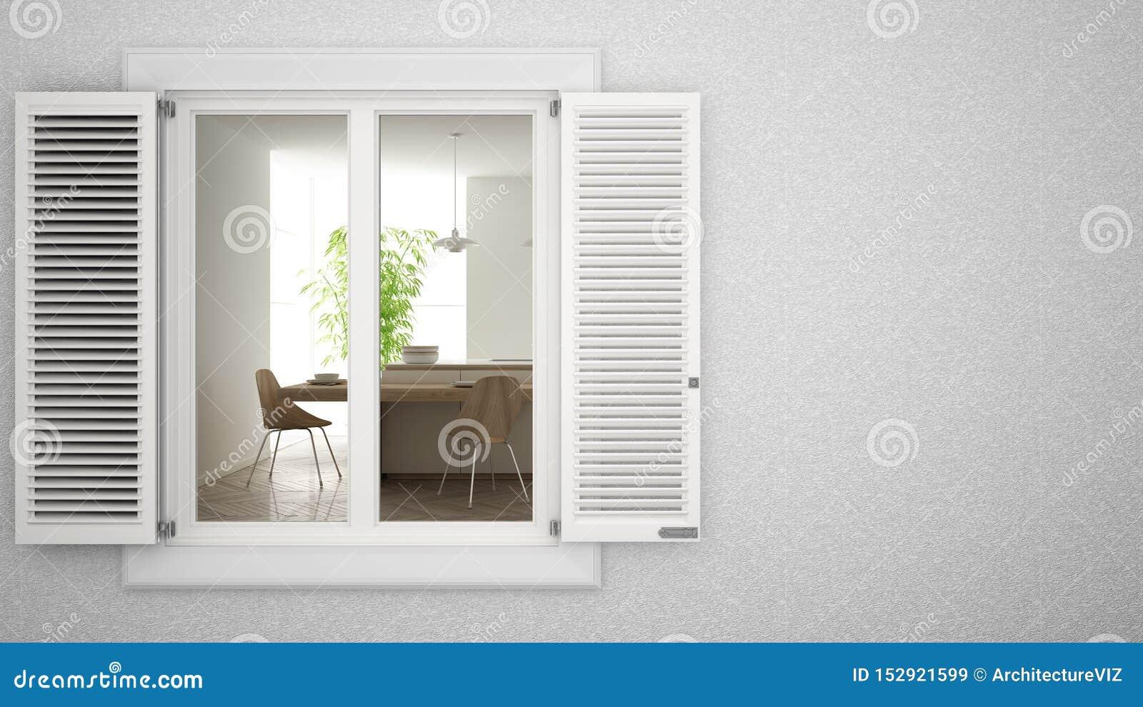 Cuisine Lumineuse Sans Fenetre mur extérieur de plâtre avec la fenêtre blanche avec des
