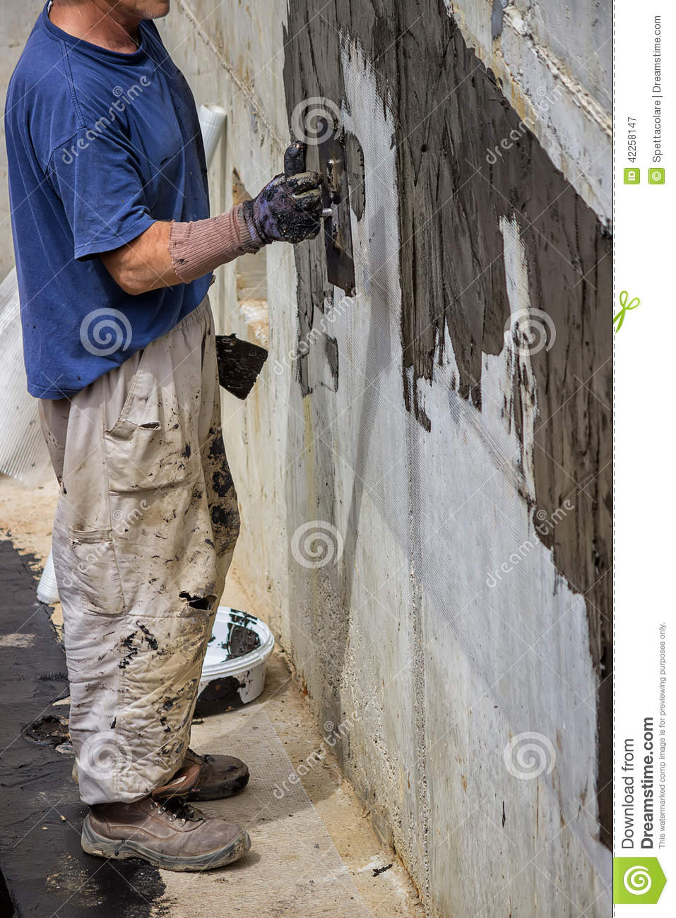 mur ext rieur de sous sol imperm abilisant 3 photo stock