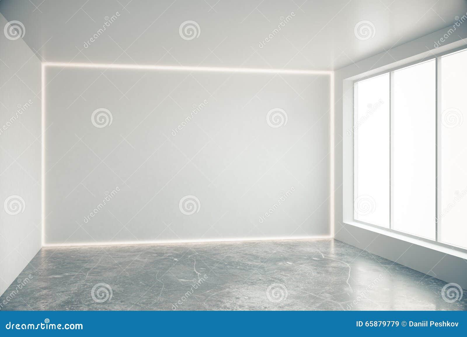 Mur gris vide dans la chambre vide avec de grandes for Chambre vide