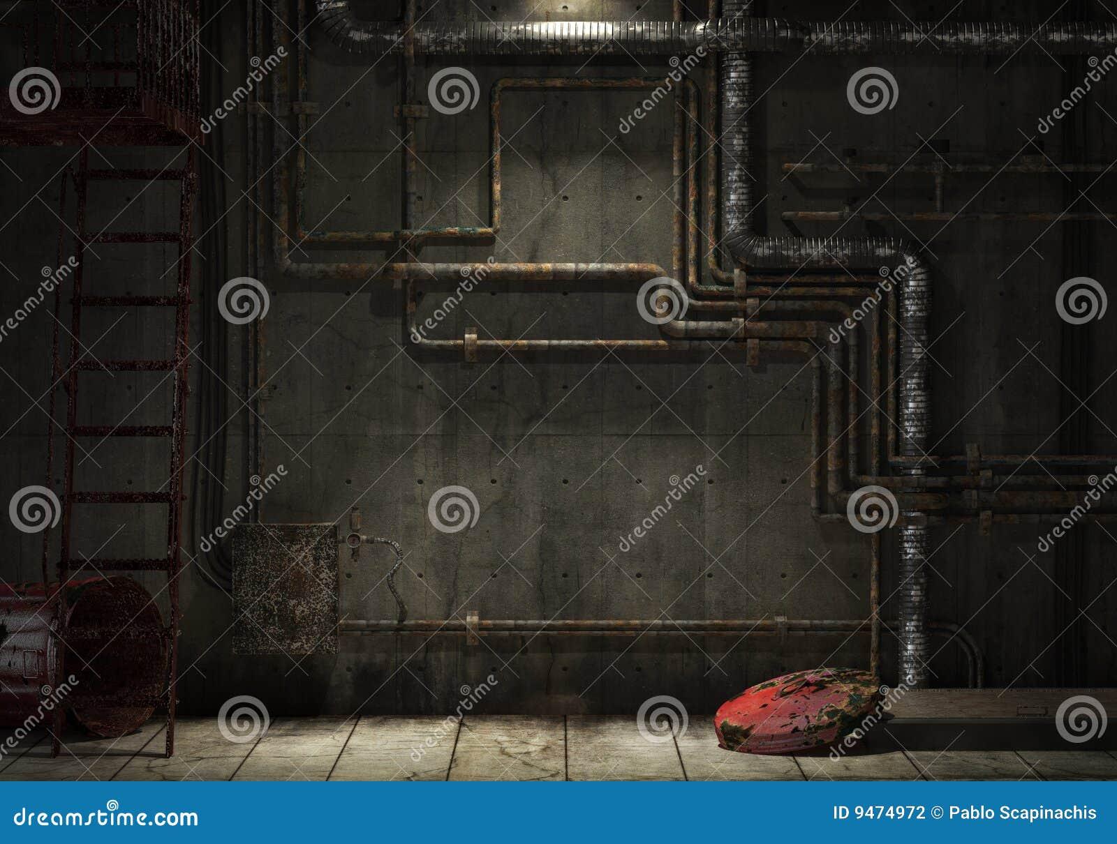Mur industriel grunge de pipe