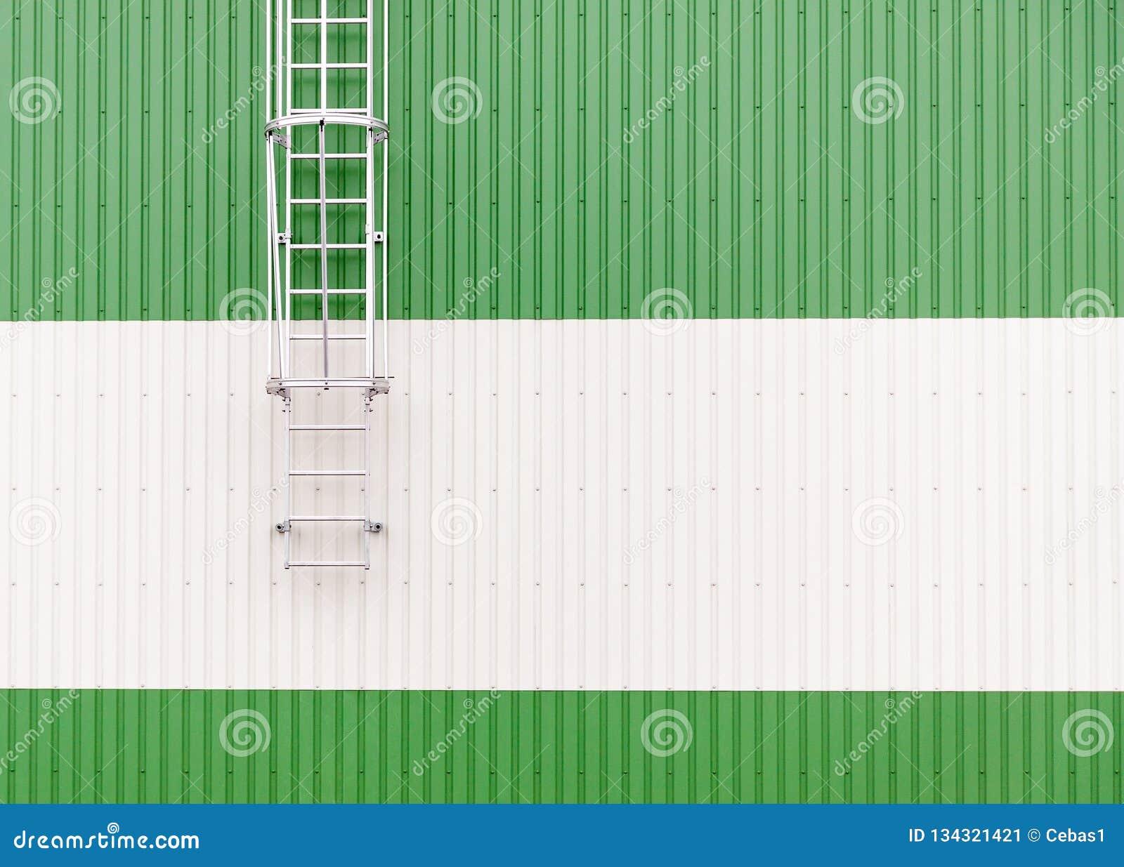 Mur industriel minimaliste d entrepôt de résumé avec l échelle en métal