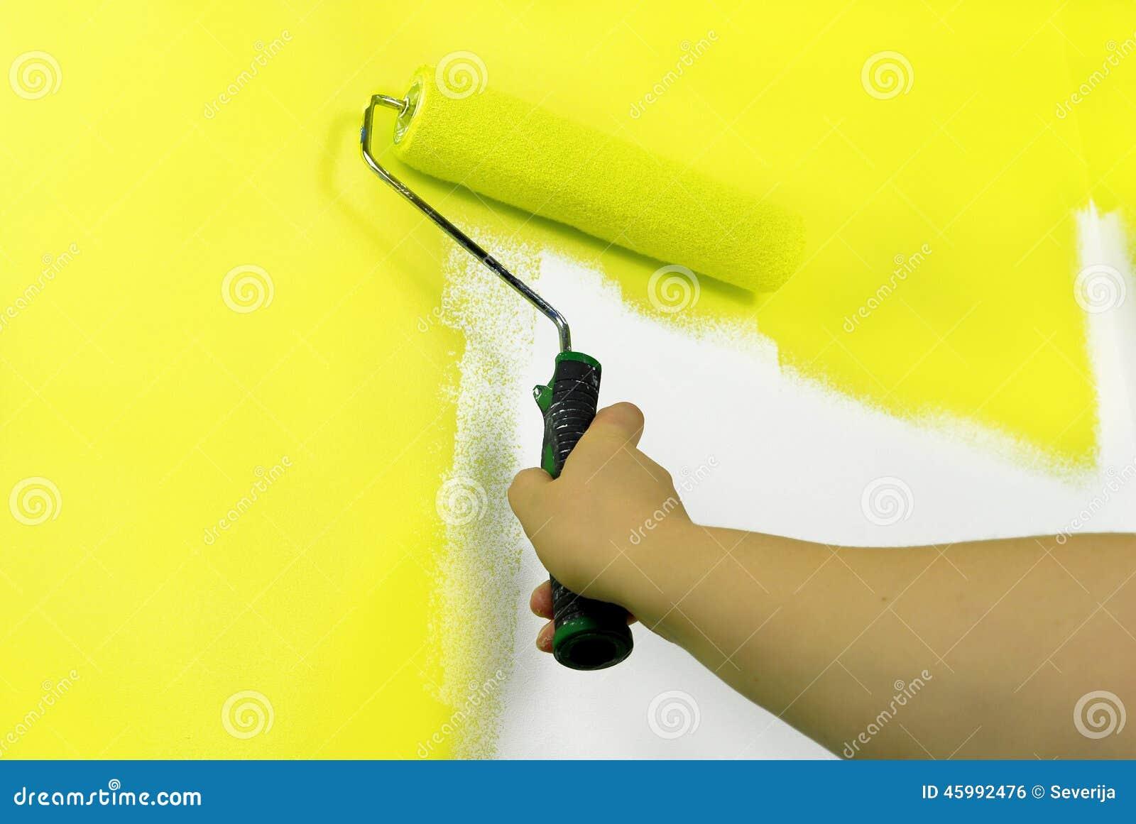 mur jaune de peinture photo stock image du fixation 45992476. Black Bedroom Furniture Sets. Home Design Ideas