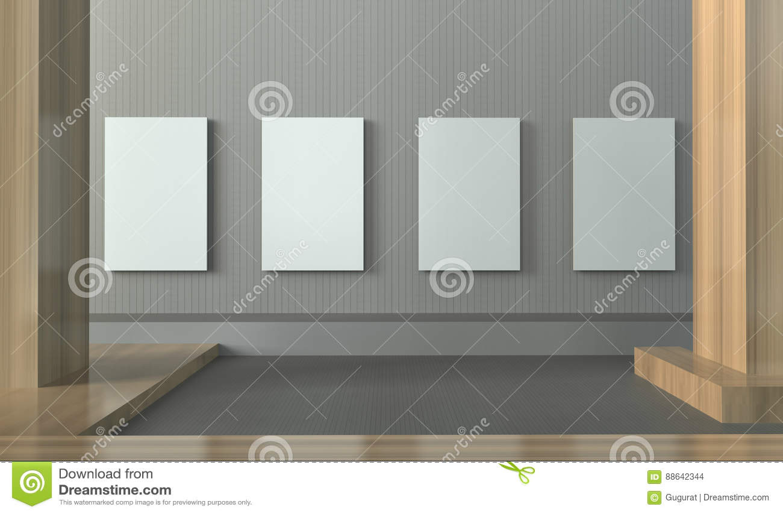 Mur Propre Et Minimal D\'exposition De Galerie De Cadre De Tableau De ...