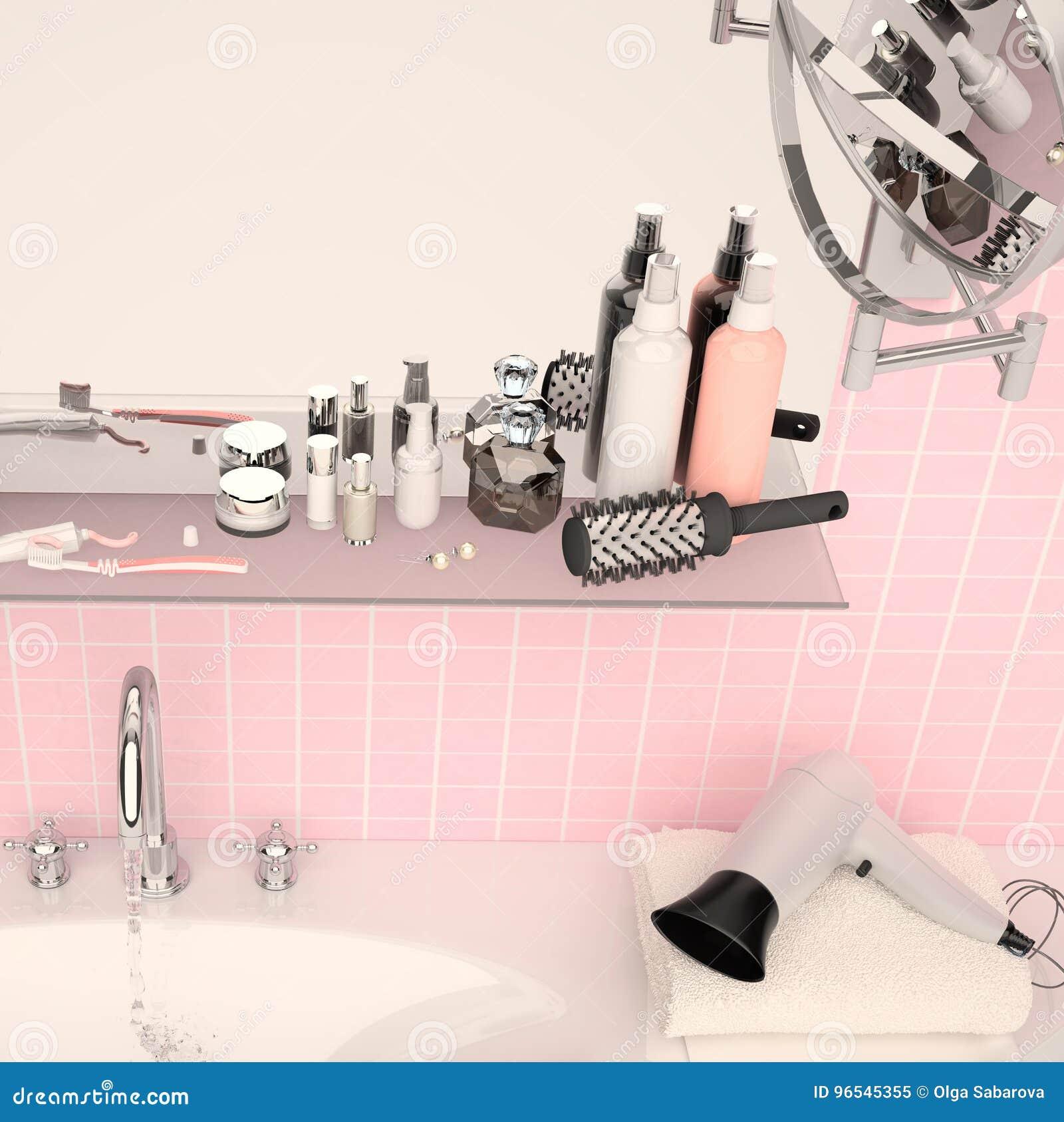 Accessoire Salle De Bain Rose Poudre ~ mur rose et une tag re dans la salle de bains avec des accessoires
