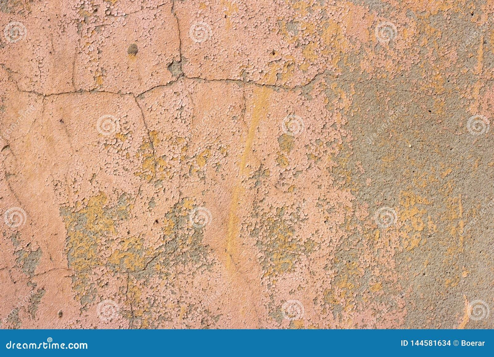 Mur rose sale de texture de moule de béton et de ciment de vieux cru criqué grunge ou fond de plancher avec la peinture superfici