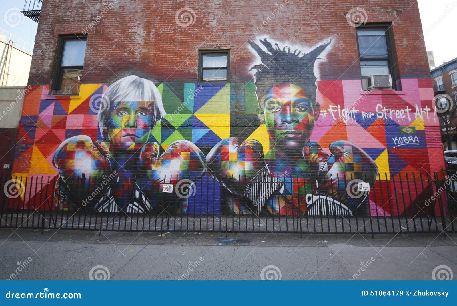 New york march 24 2015mural art by brazilian mural artist eduardo kobra recruits pop art legend andy warhol and 80s art superstar jean michel basquiat