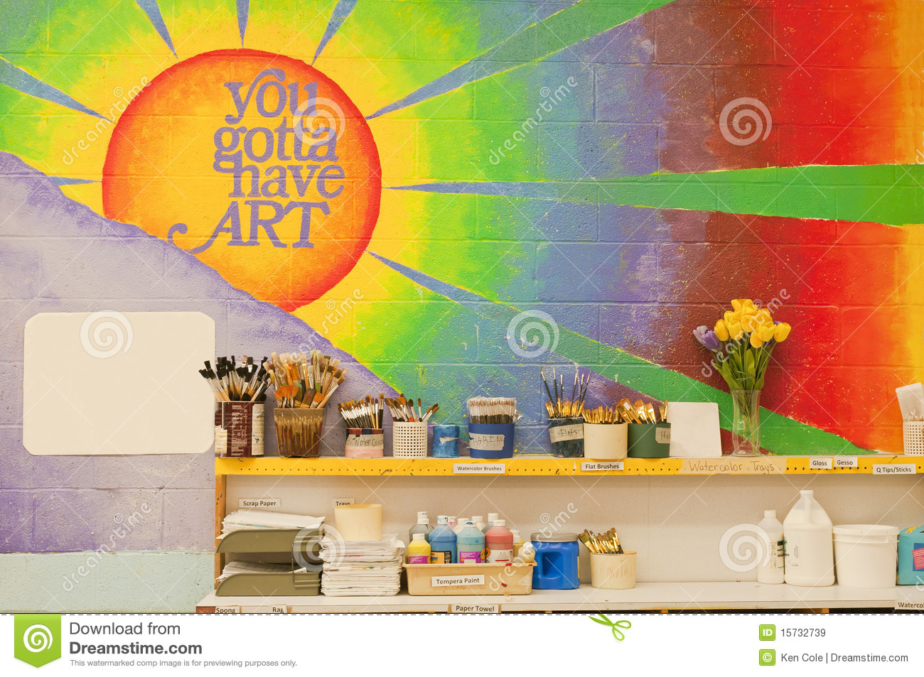 Mural in art classroom stock image image of colours for Classroom wall mural ideas