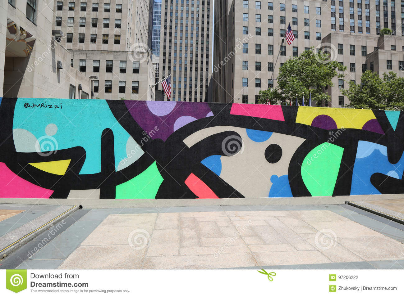 Mural Art At Rockefeller Plaza In Midtown Manhattan