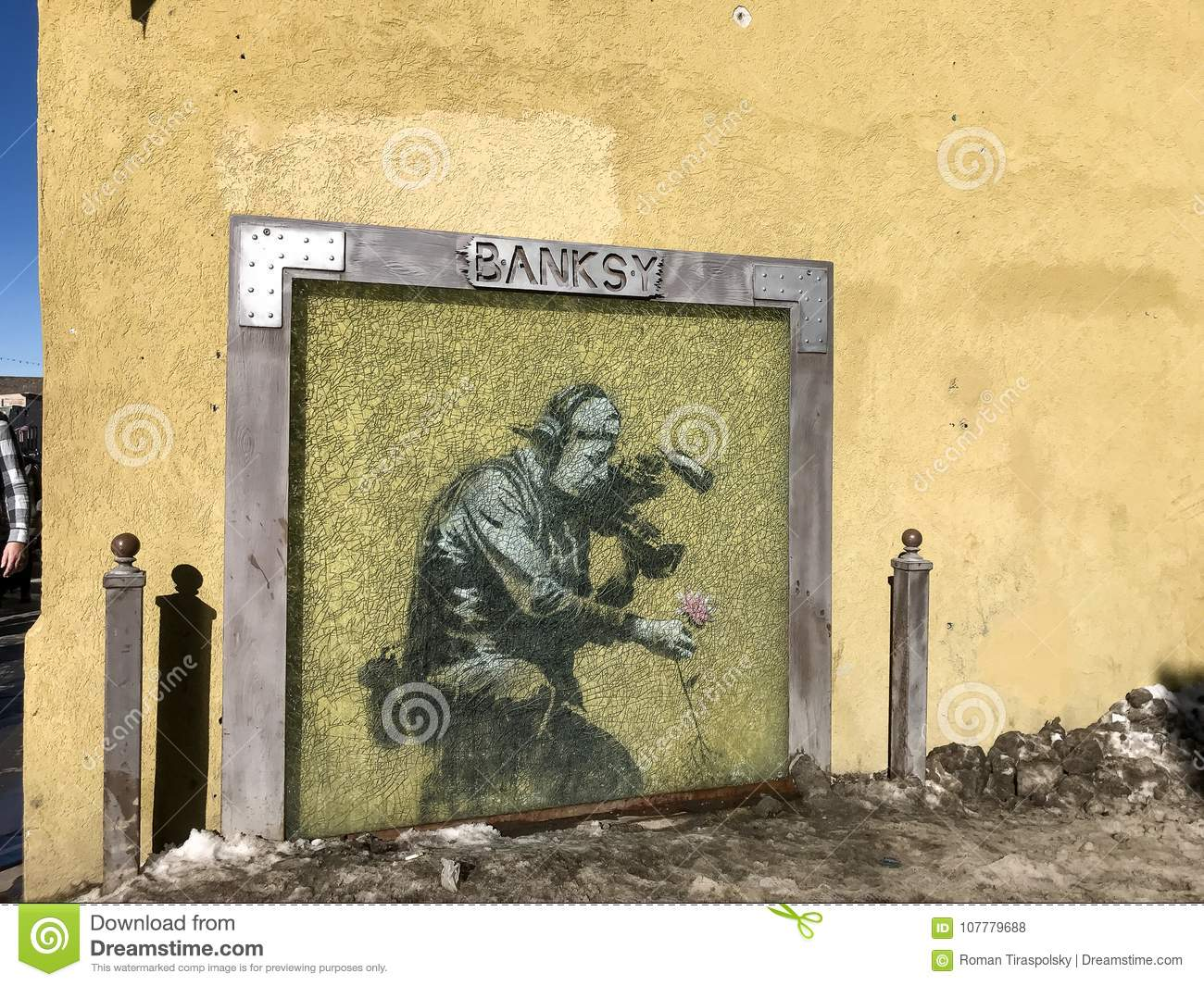 Mural By Banksy Protected By Glass Editorial Stock Photo - Image of ...