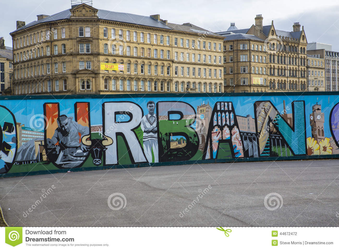 Mural in city park bradford editorial photography image for Office design west yorkshire