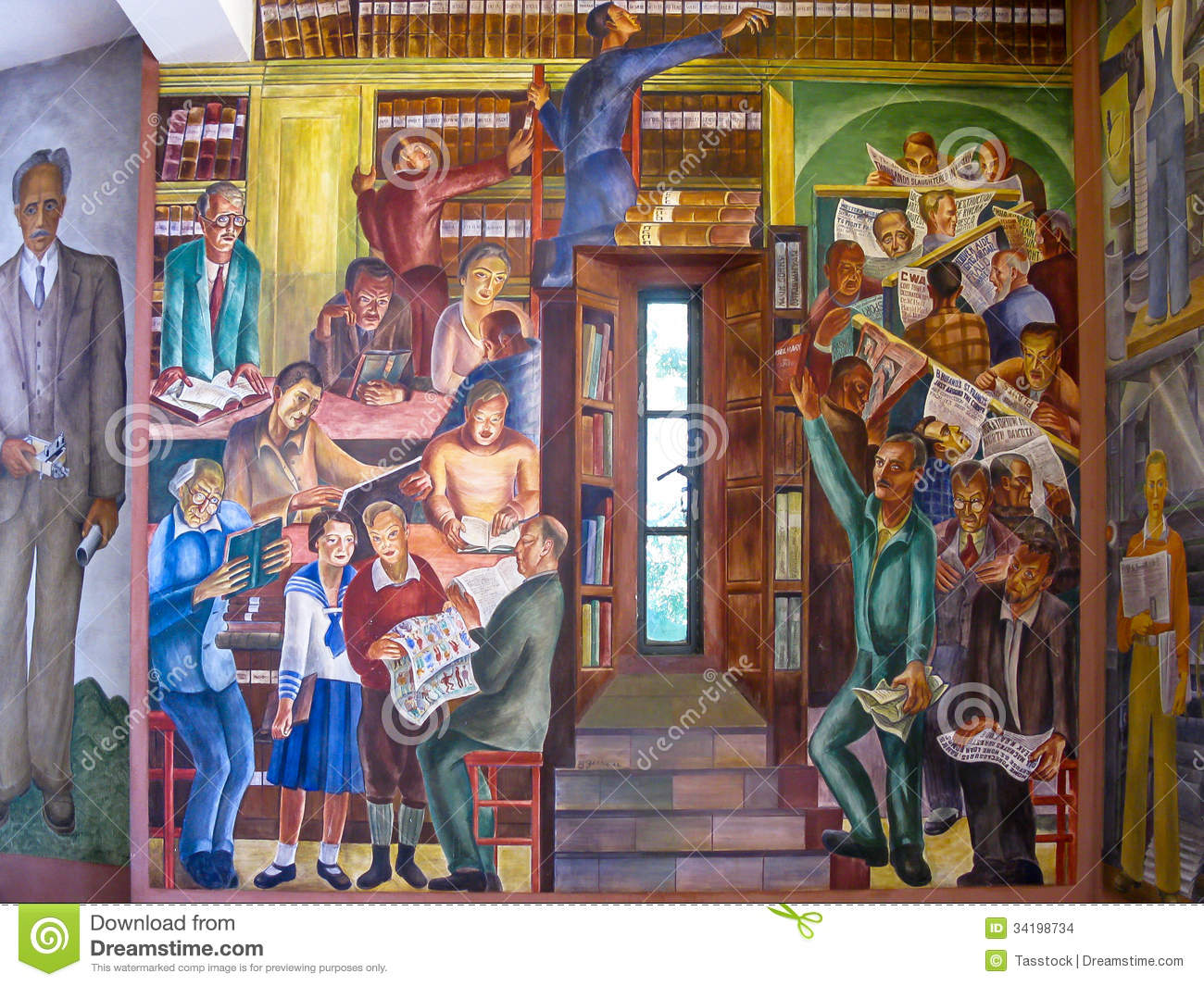 Mural in coit tower san francisco stock images image for Diego rivera mural san francisco