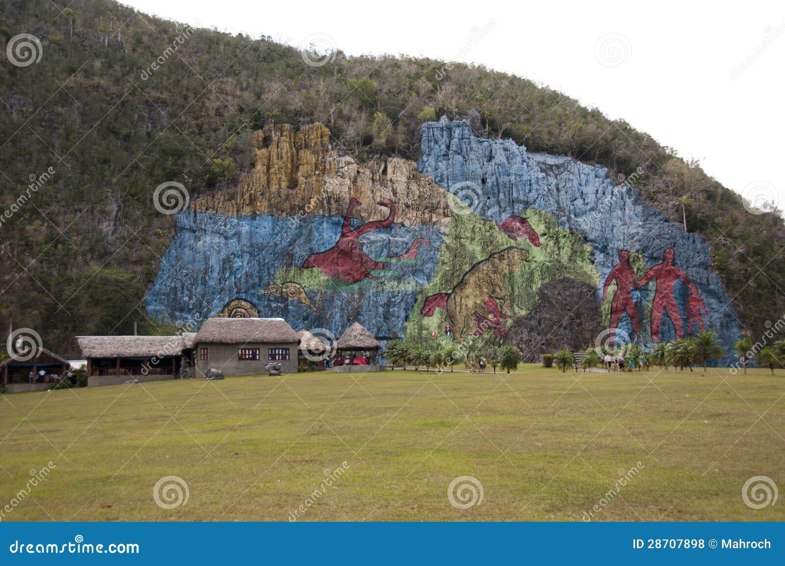 Mural de la prehistoria vinales cuba royalty free stock for Mural de la prehistoria