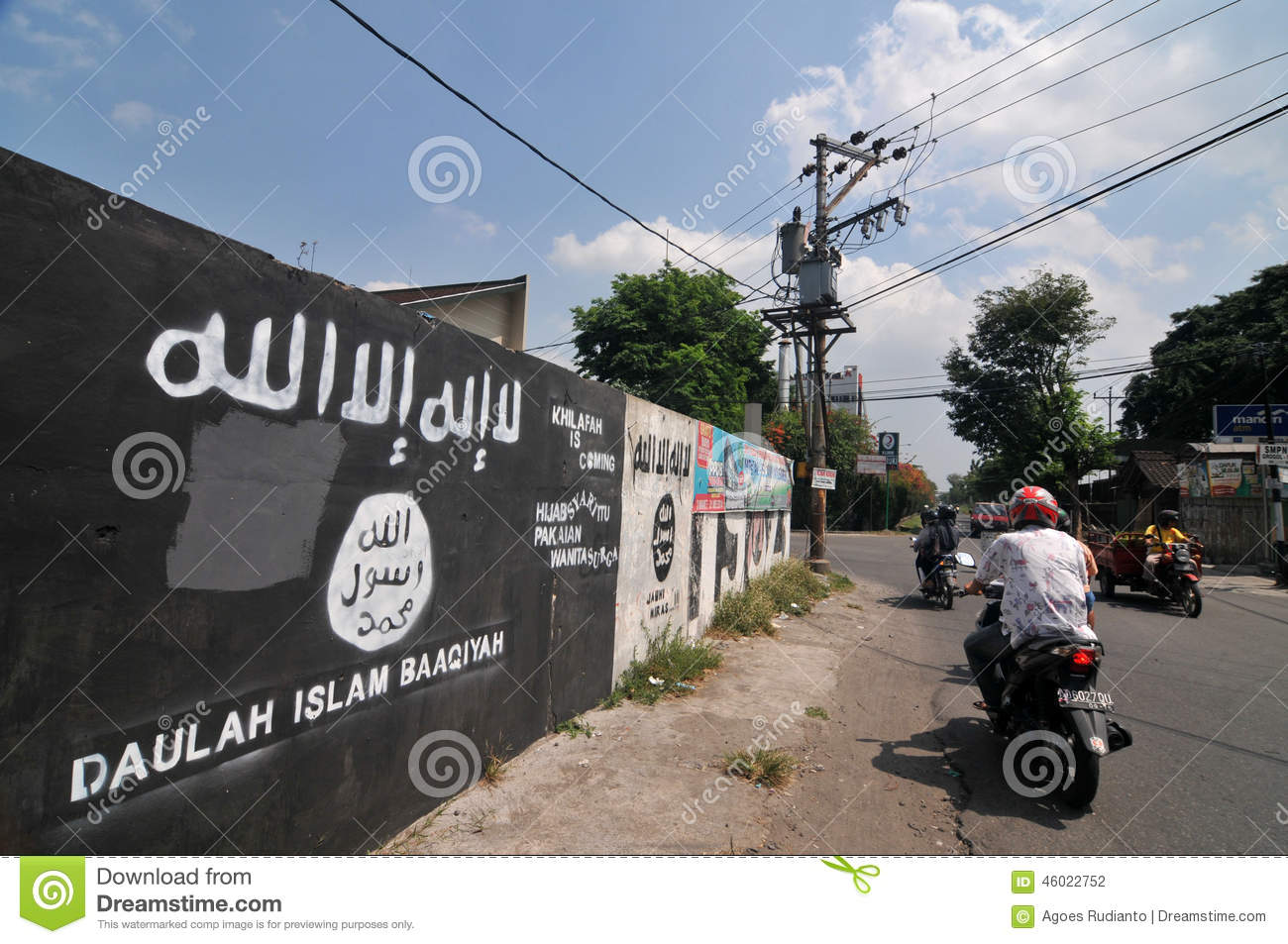Mural of isis flag in indonesia editorial photography for Mural indonesia