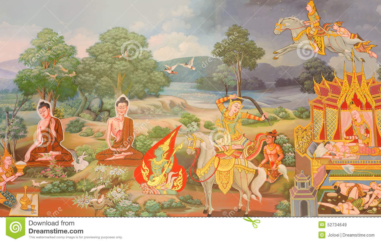 mural mythology buddhist religion on wall in wat neram stock photo mural mythology buddhist religion on wall in wat neram stock photo