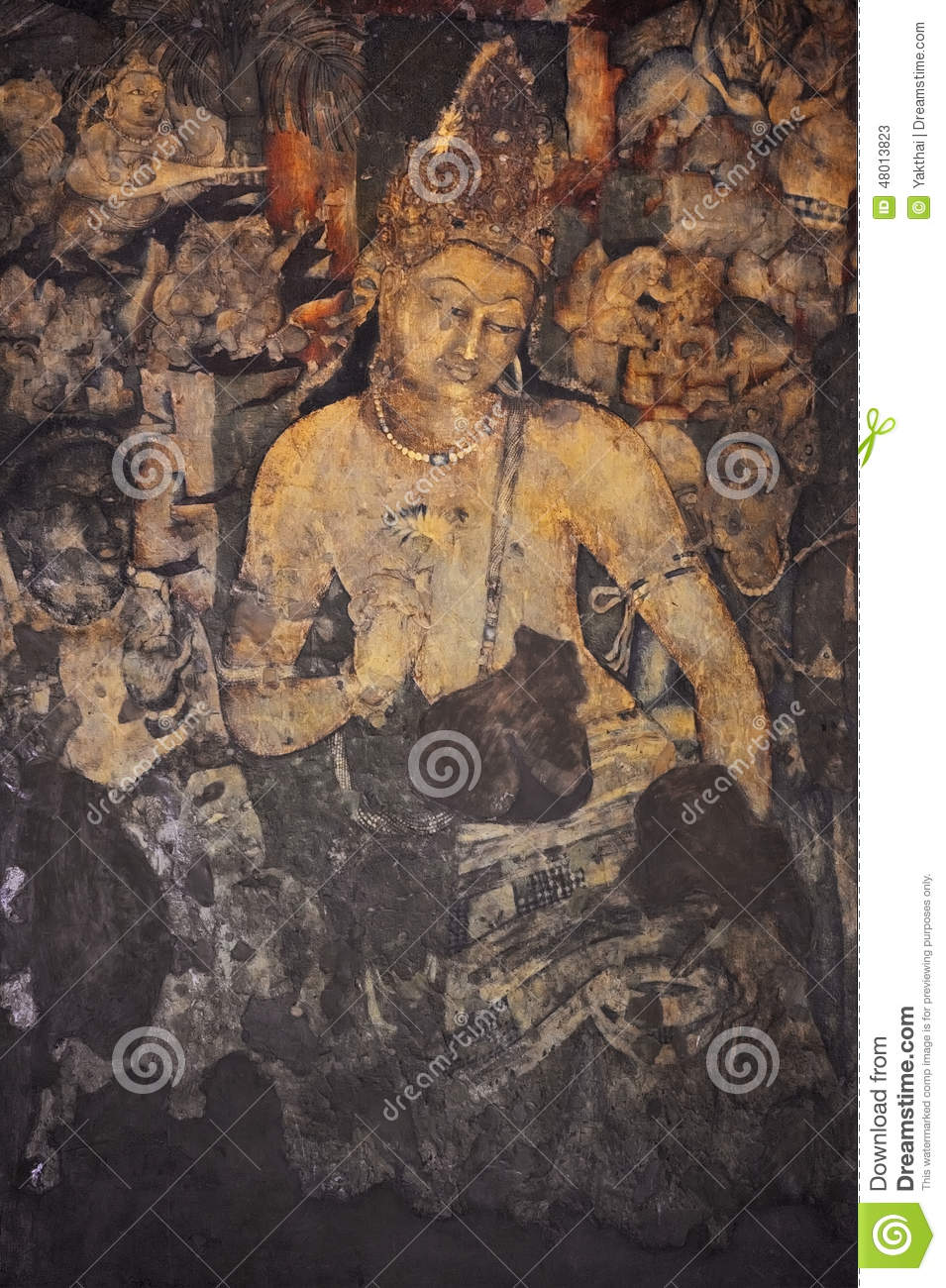 Mural painting of padmapani in ajanta stock photo image for Ajanta mural painting