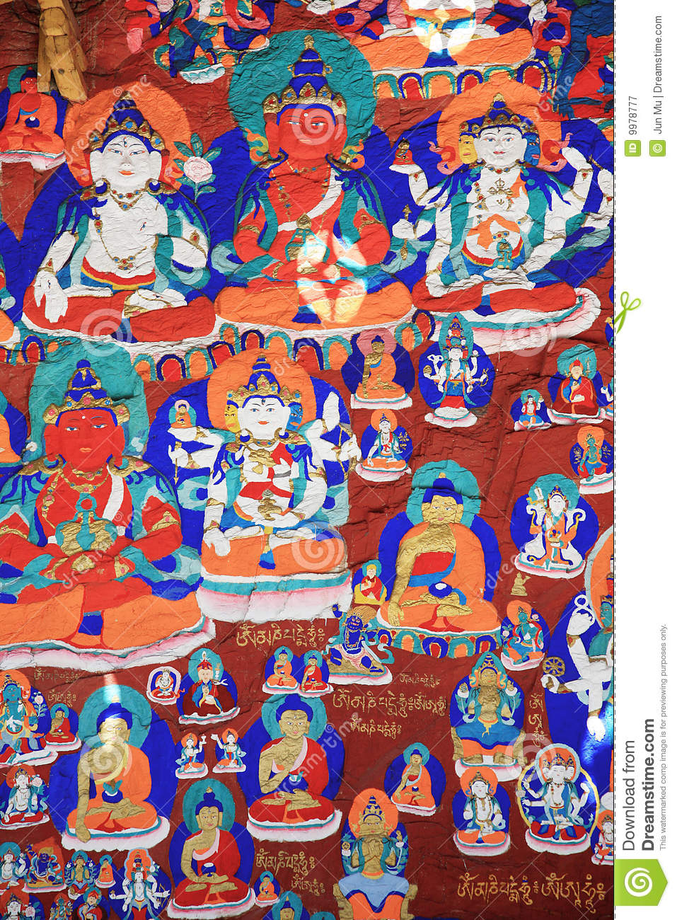 Mural paintings stock image image of china tibet for Chinese mural painting