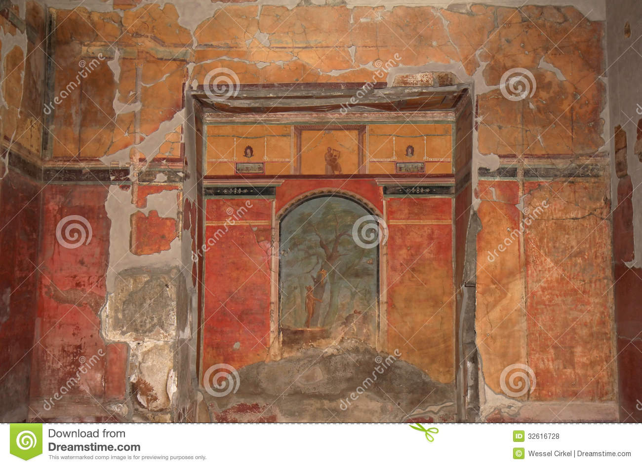 Mural in the roman villa poppaea italy royalty free stock for Ancient mural villa
