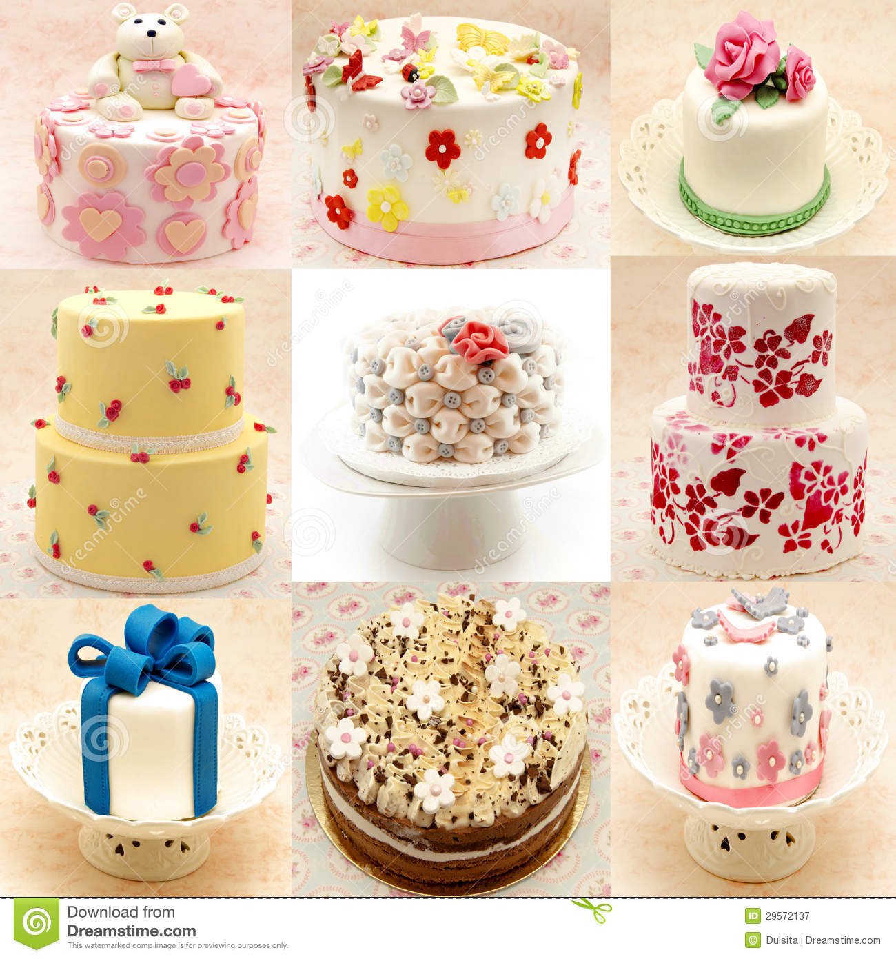 Mural Of Various Cakes Royalty Free Stock Photography