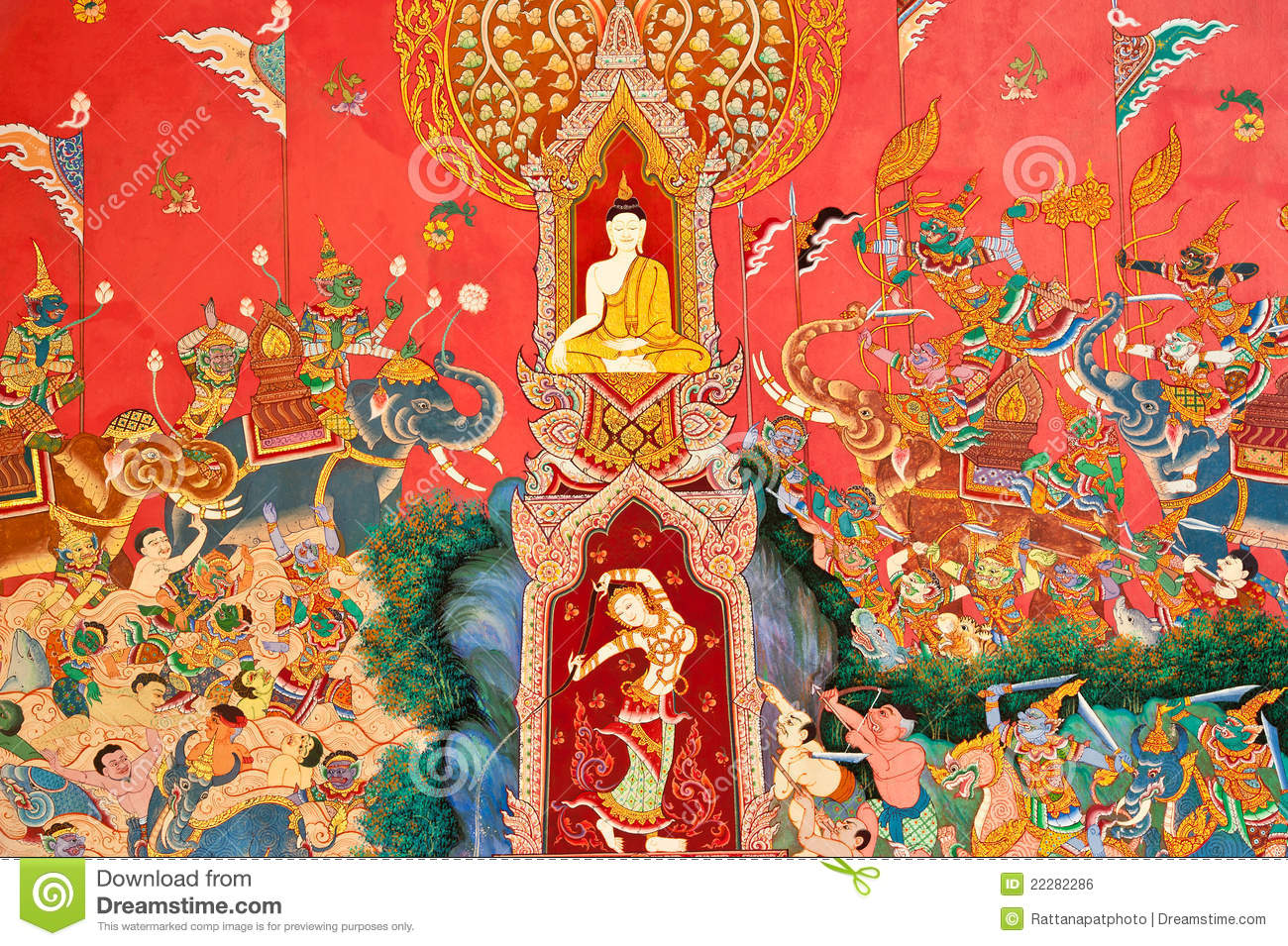 Mural on the wall of buddhist church royalty free stock for Church mural painting