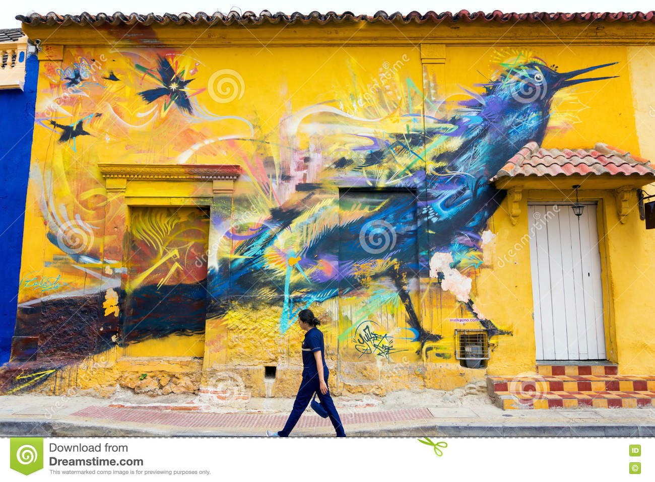 Mural on Yellow Wall editorial photo. Image of tropical - 75359281