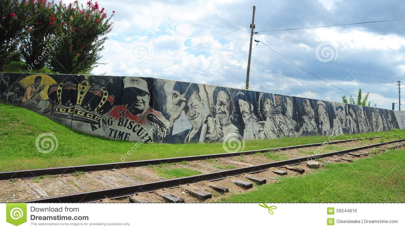 Murales locales de las leyendas de la música en Helena Levee Walk, Helena Arkansas