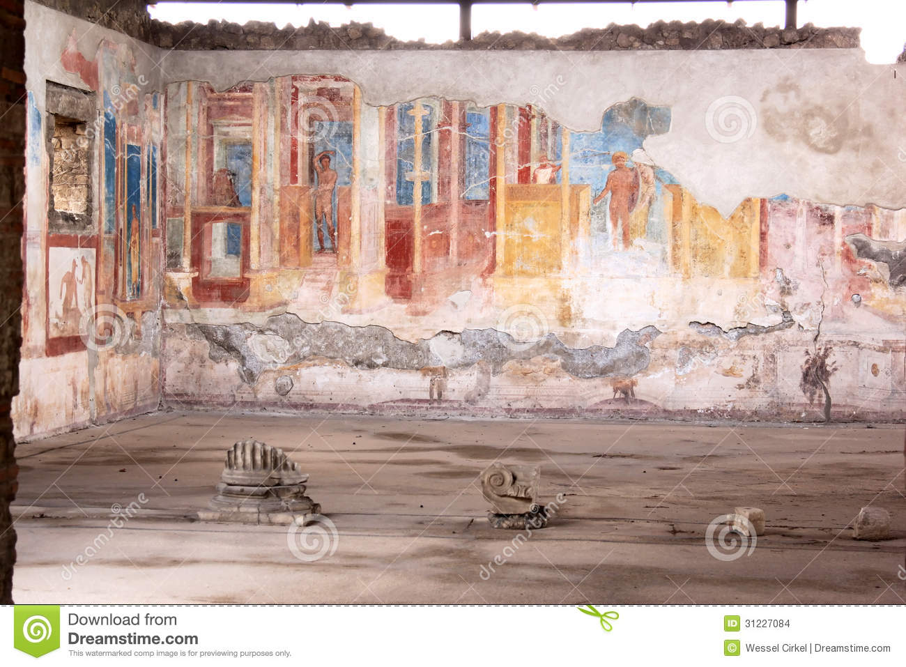 Murals in the ancient roman pompeii italy stock images for Ancient mural villa
