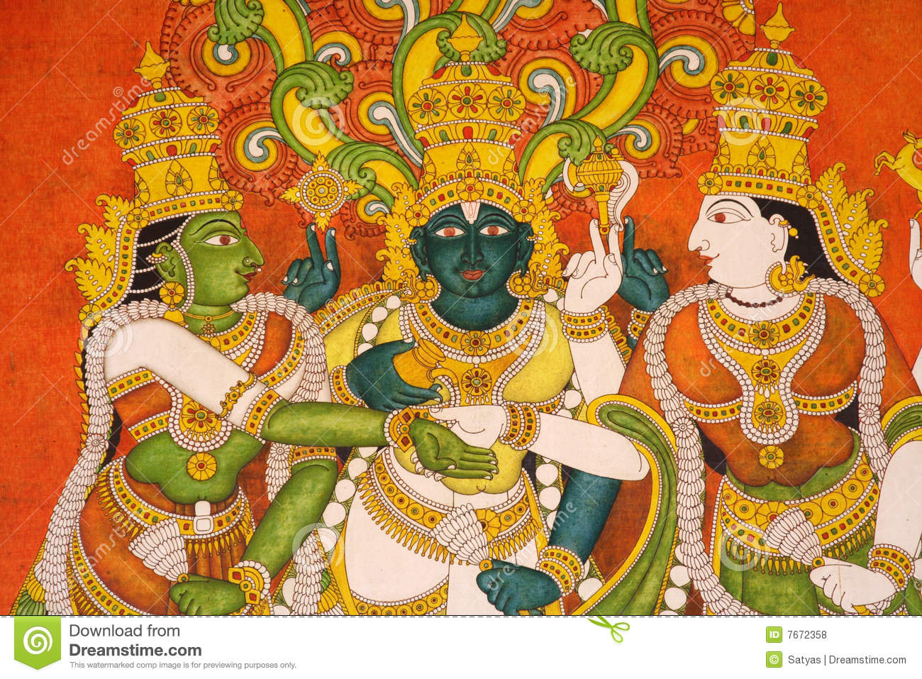 Murals in meenakshi temple india royalty free stock photos for Archaeological monuments in india mural paintings