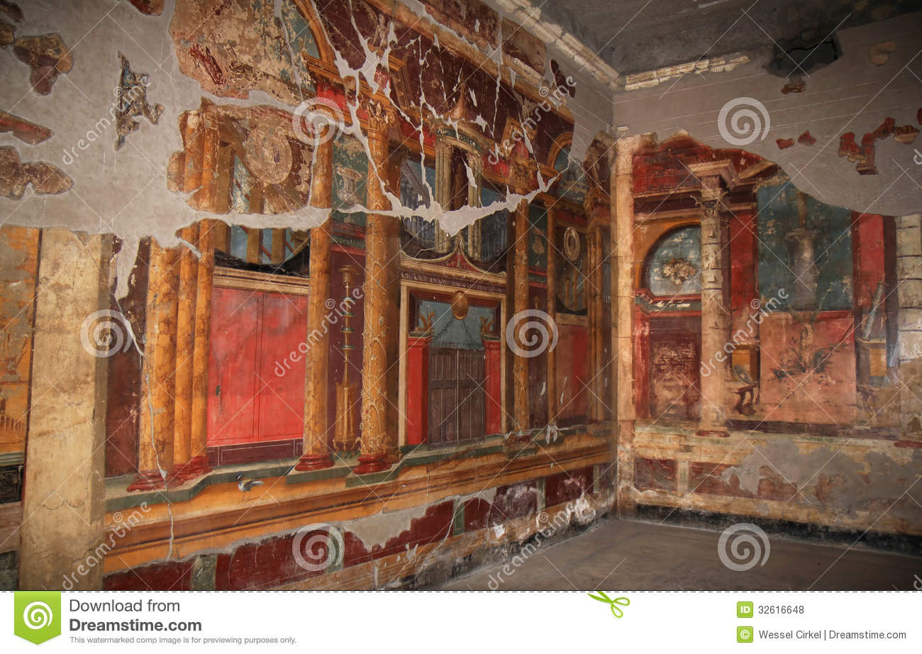 murals in the roman villa poppaea italy stock photo