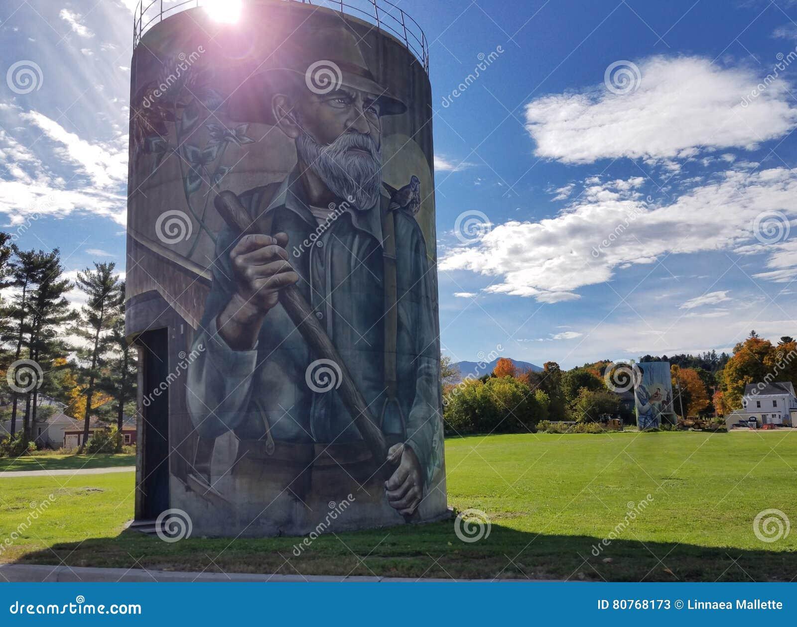 Murals on Silos in Jefferson, Vermont