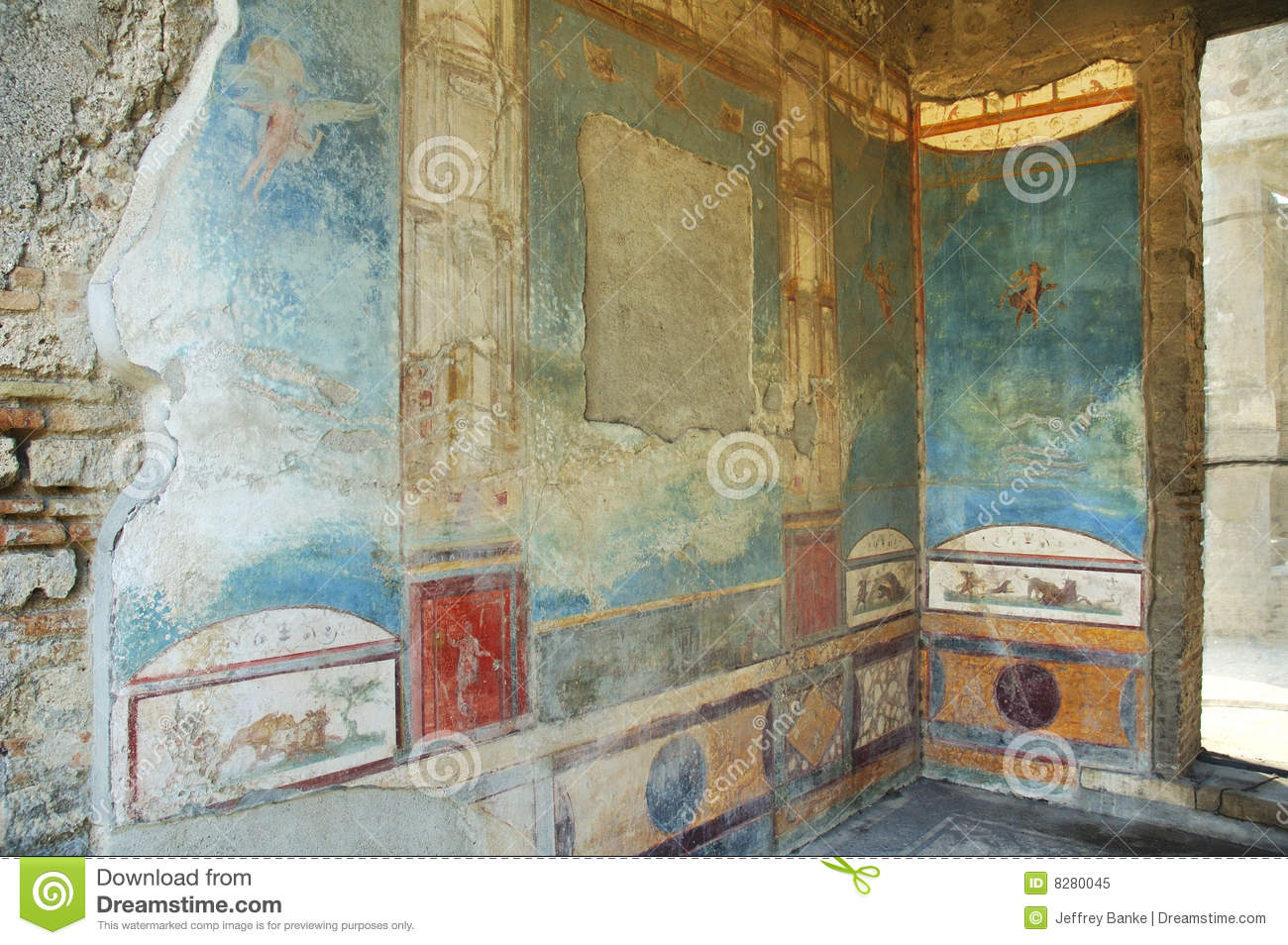 Murals on the walls in pompeii royalty free stock photo for Ancient roman mural